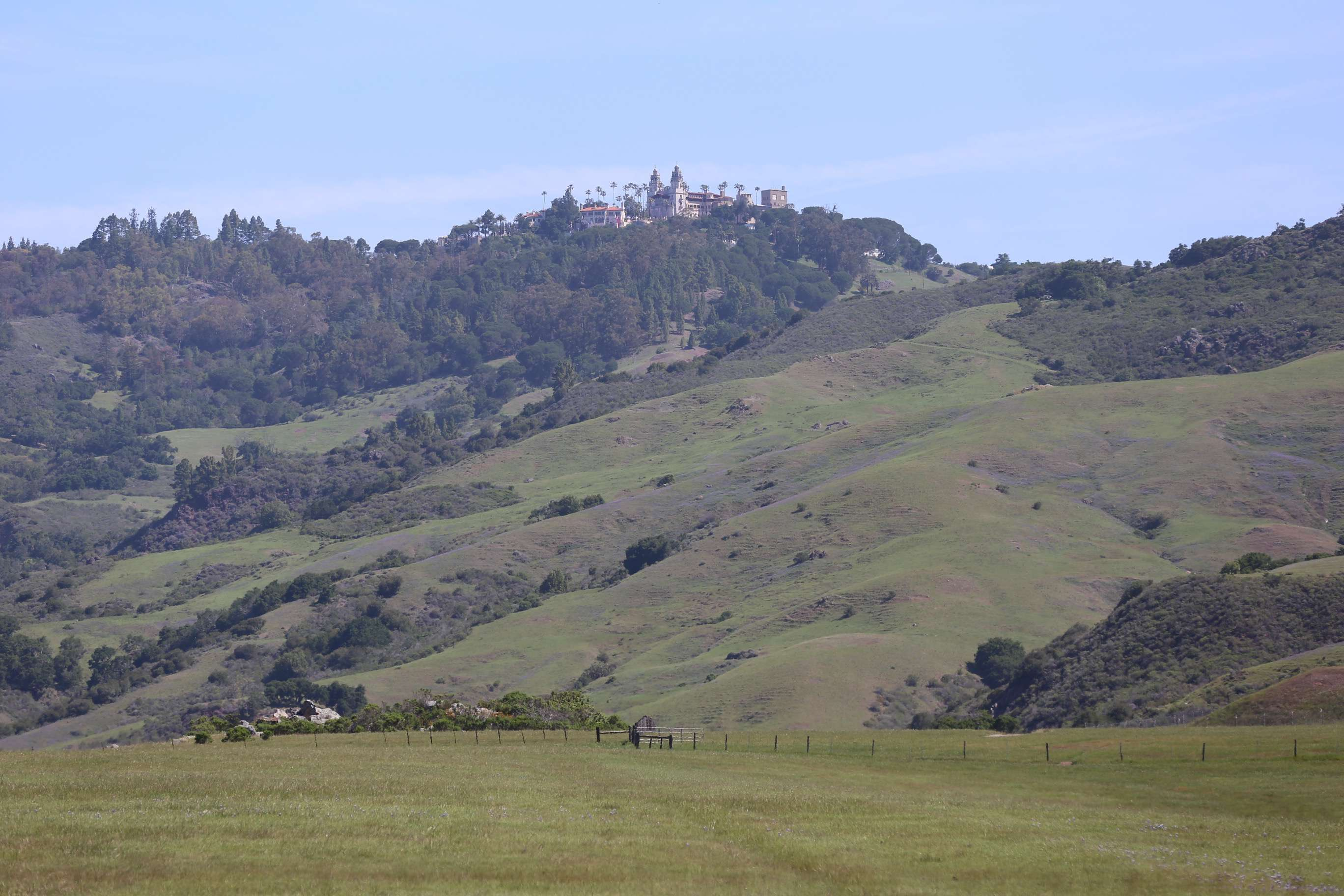 """Au plein air"" captures the hues and textures of the San Luis Obispo hills with the castle on the promontory."