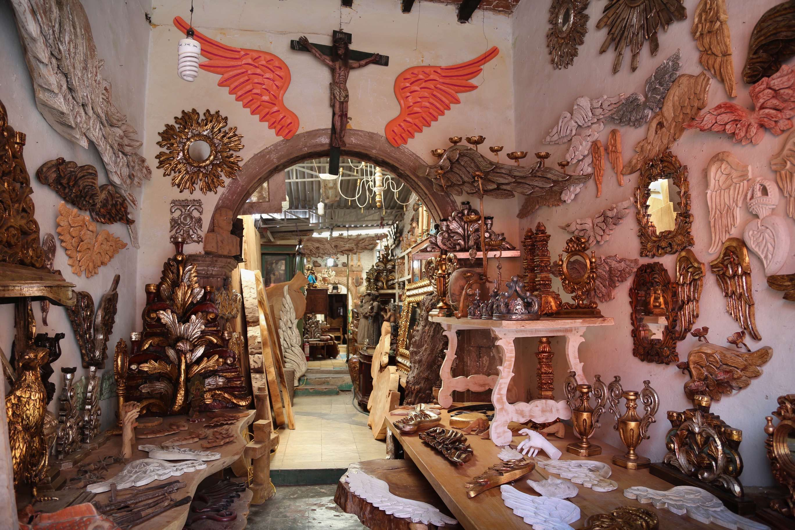 The door of this shop is a bit plain, but inside lies a menagerie of choices, much of it religious.