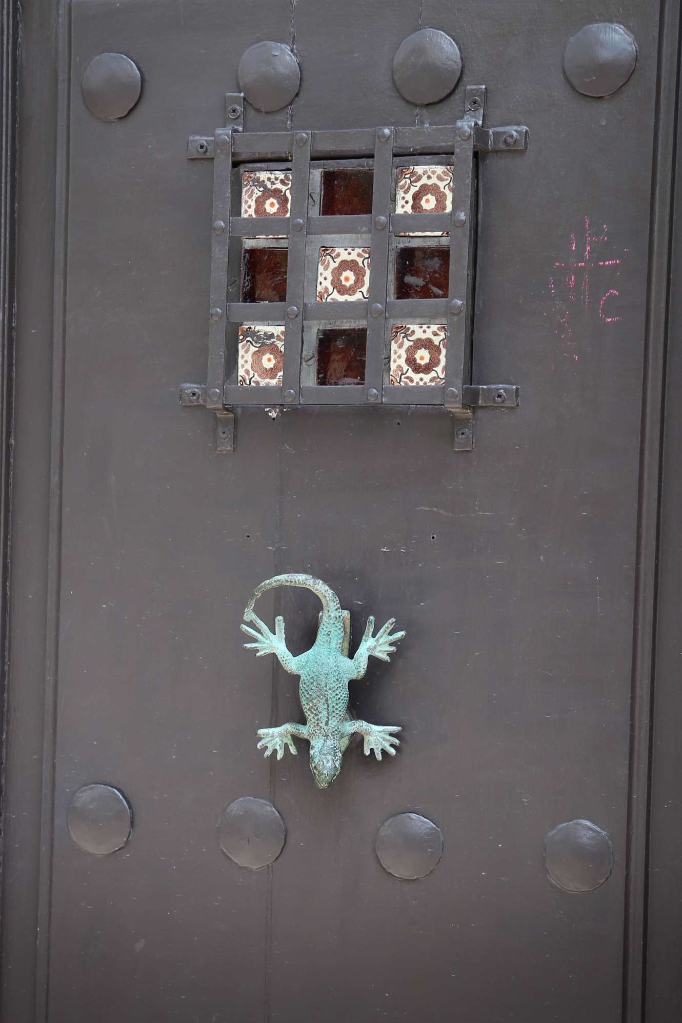 The door is a bit plain, but the lizard adds a distinctive touch.