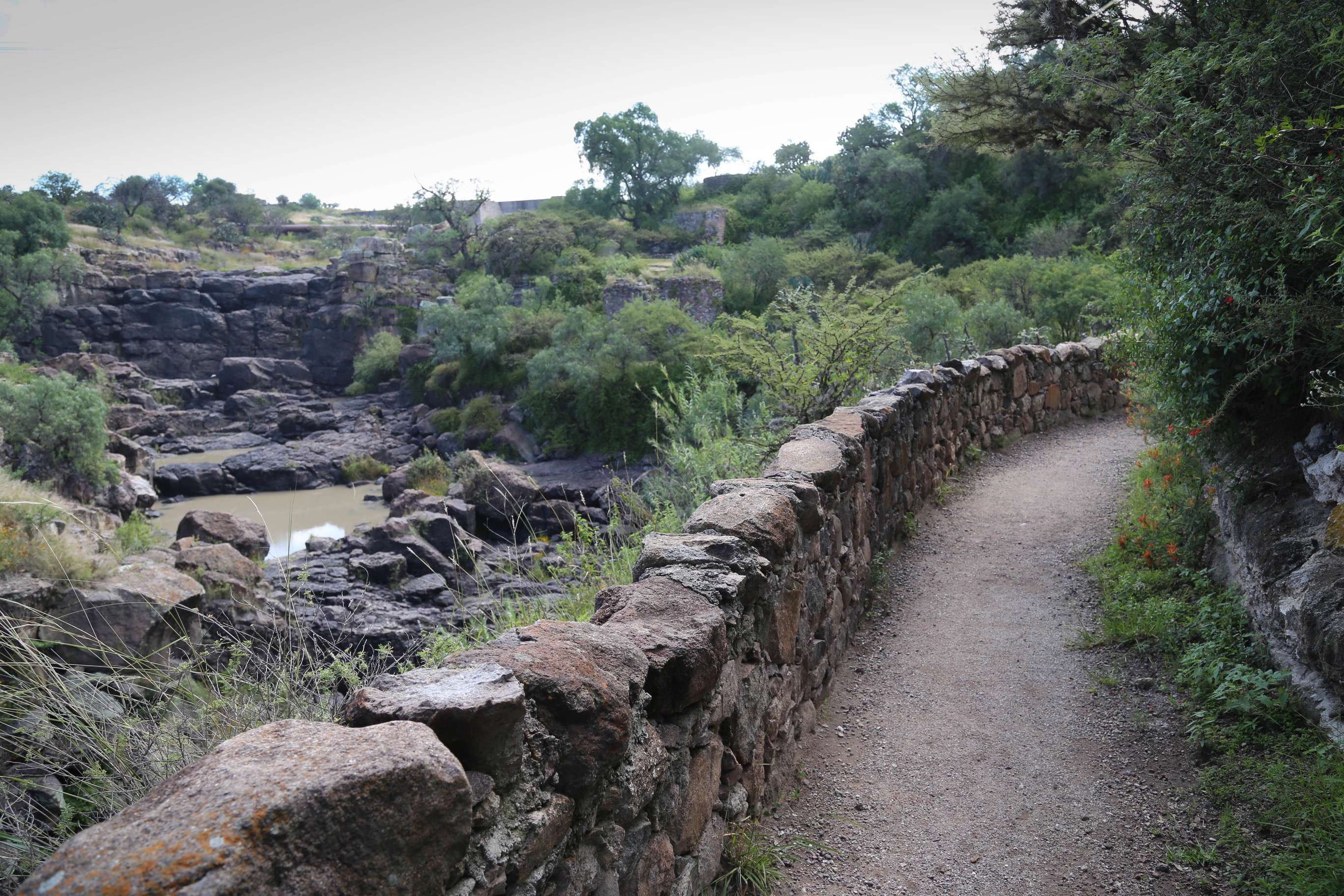 This spot on the trail shows the canyon, and on the rocks below, El Charco occasionally puts on concerts and musical performances.