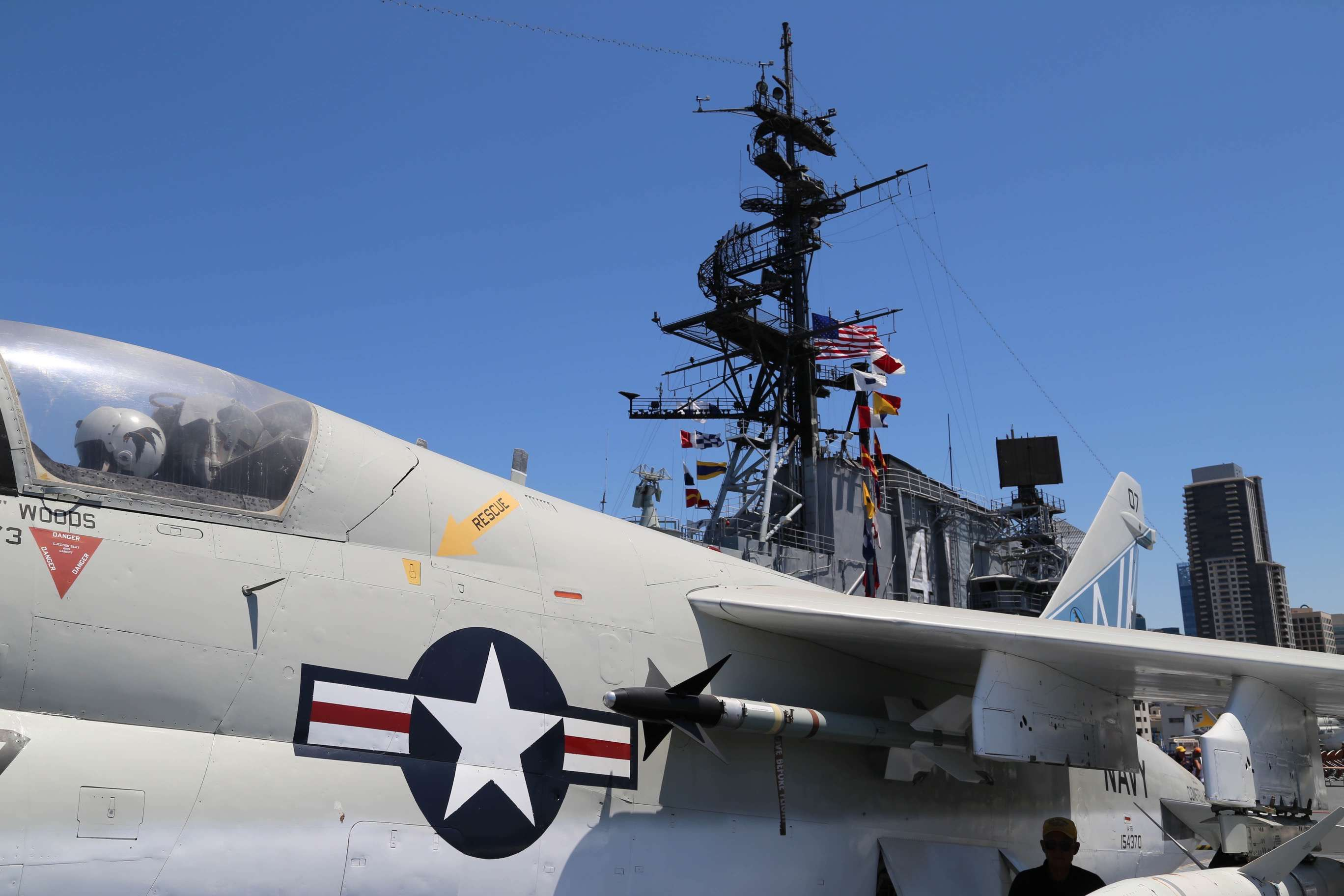 A fighter jet is positioned for takeoff aboard the USS Midway.