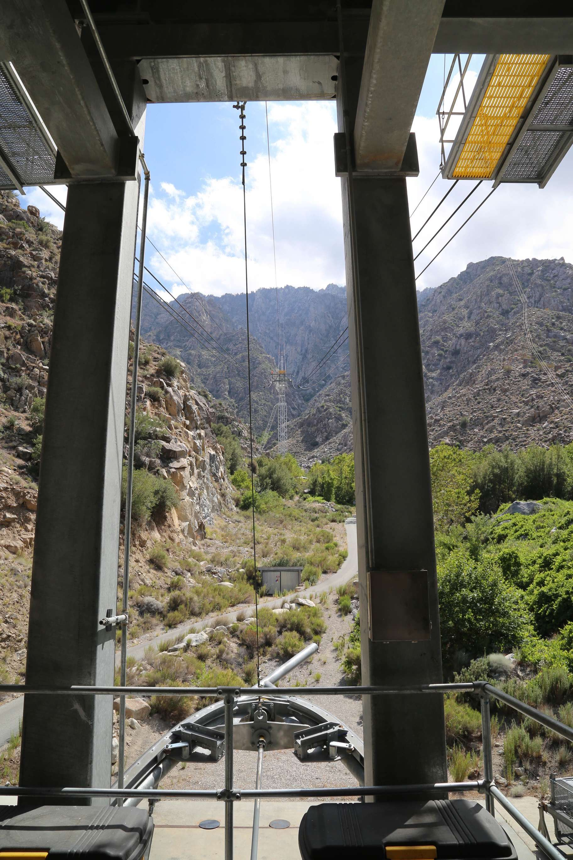 Holding up the massive aerial tramway cars is a high grade steel cable that is more than 1.5 inches in diameter.