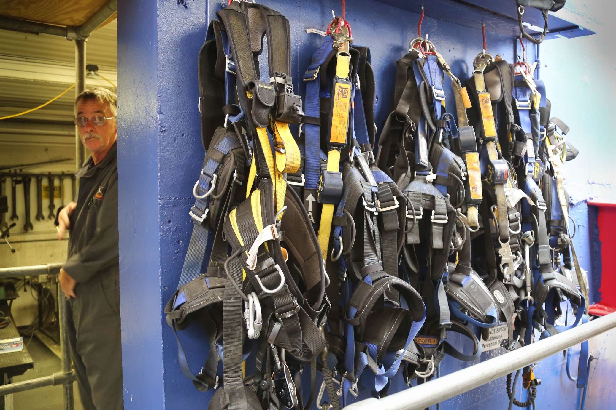 Safety for everyone, visitor and workers alike, is a top priority. Safety harnesses are a must for maintenance.