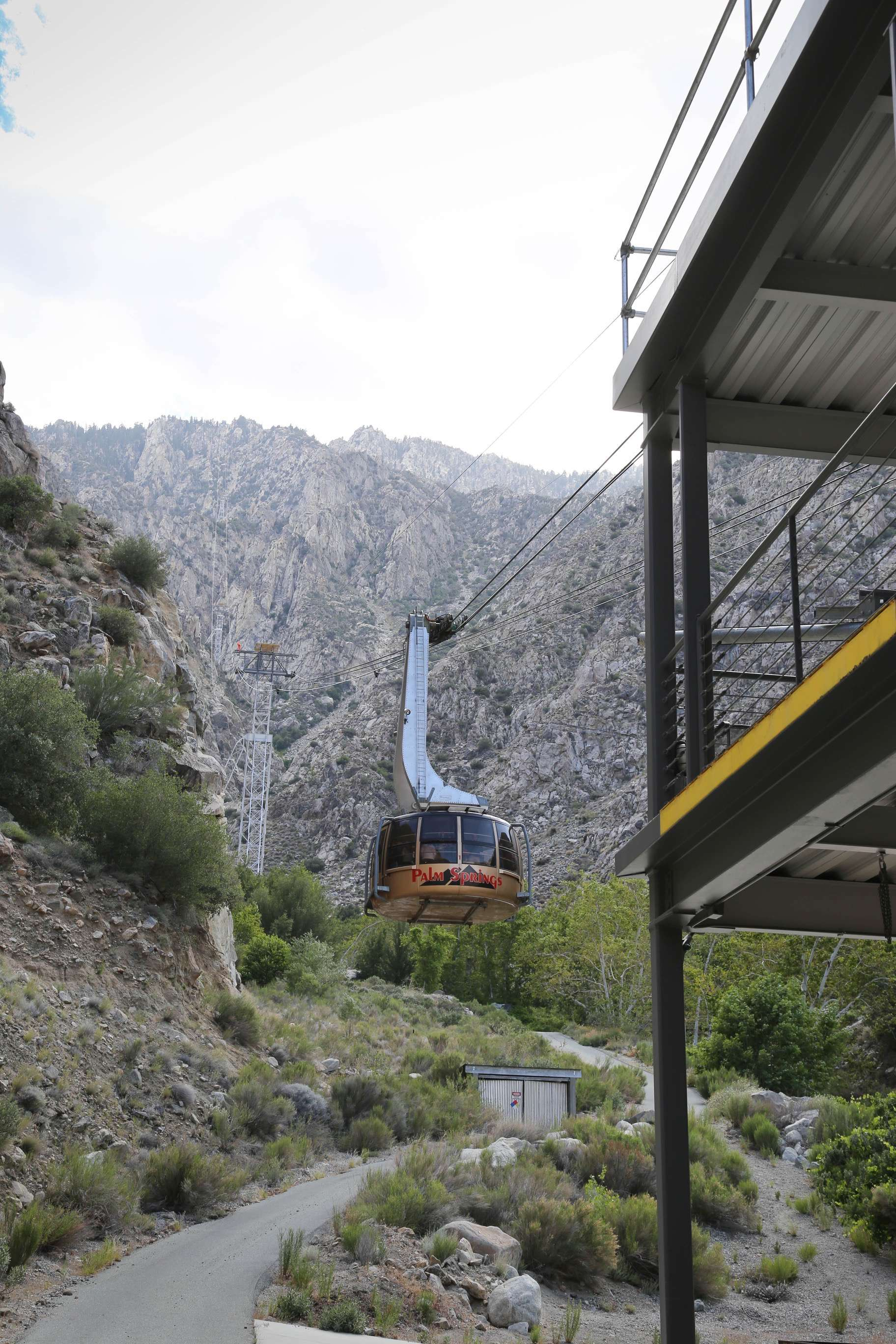 One of the round aerial tramway cars sets off to the summit of Mt. San Jacinto.