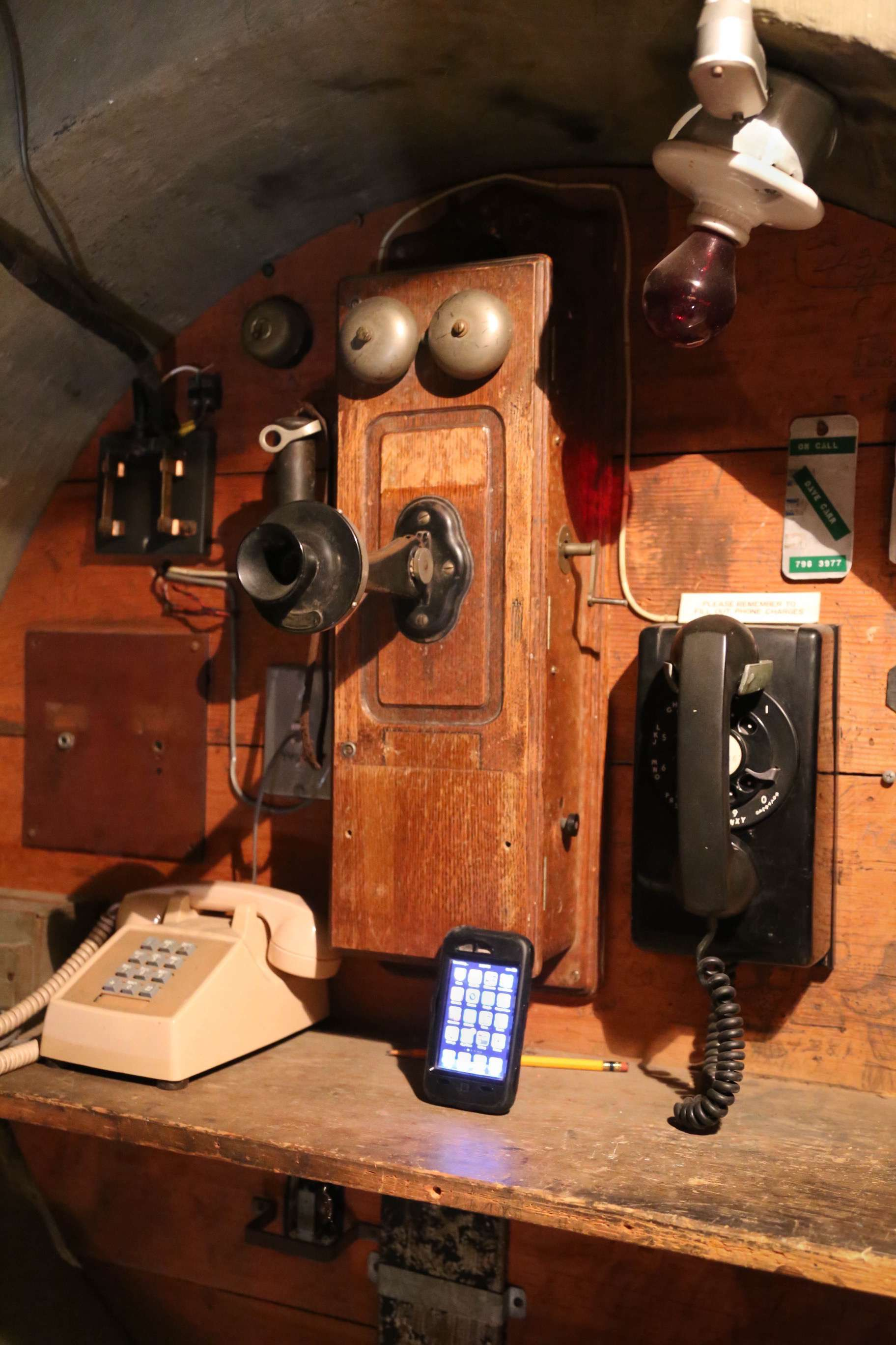 Time marches on, and in a stairwell inside the 100-inch telescope, examples of communications technology can be seen, from the crank-style telephone, that was replaced by the rotary dial, then push button, to today's cellular phones.