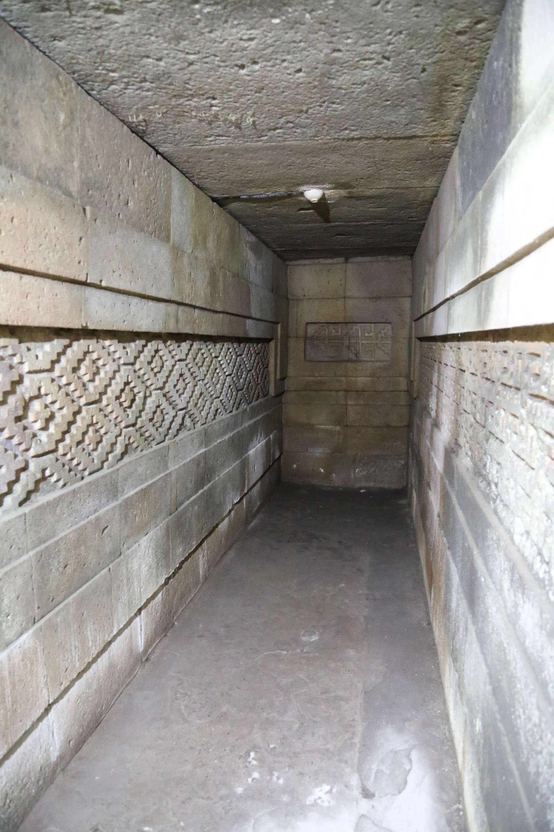 Intricate fretwork carved directly into the stone, as in this burial chamber, are found nowhere else in Mexico's may ancient temples.