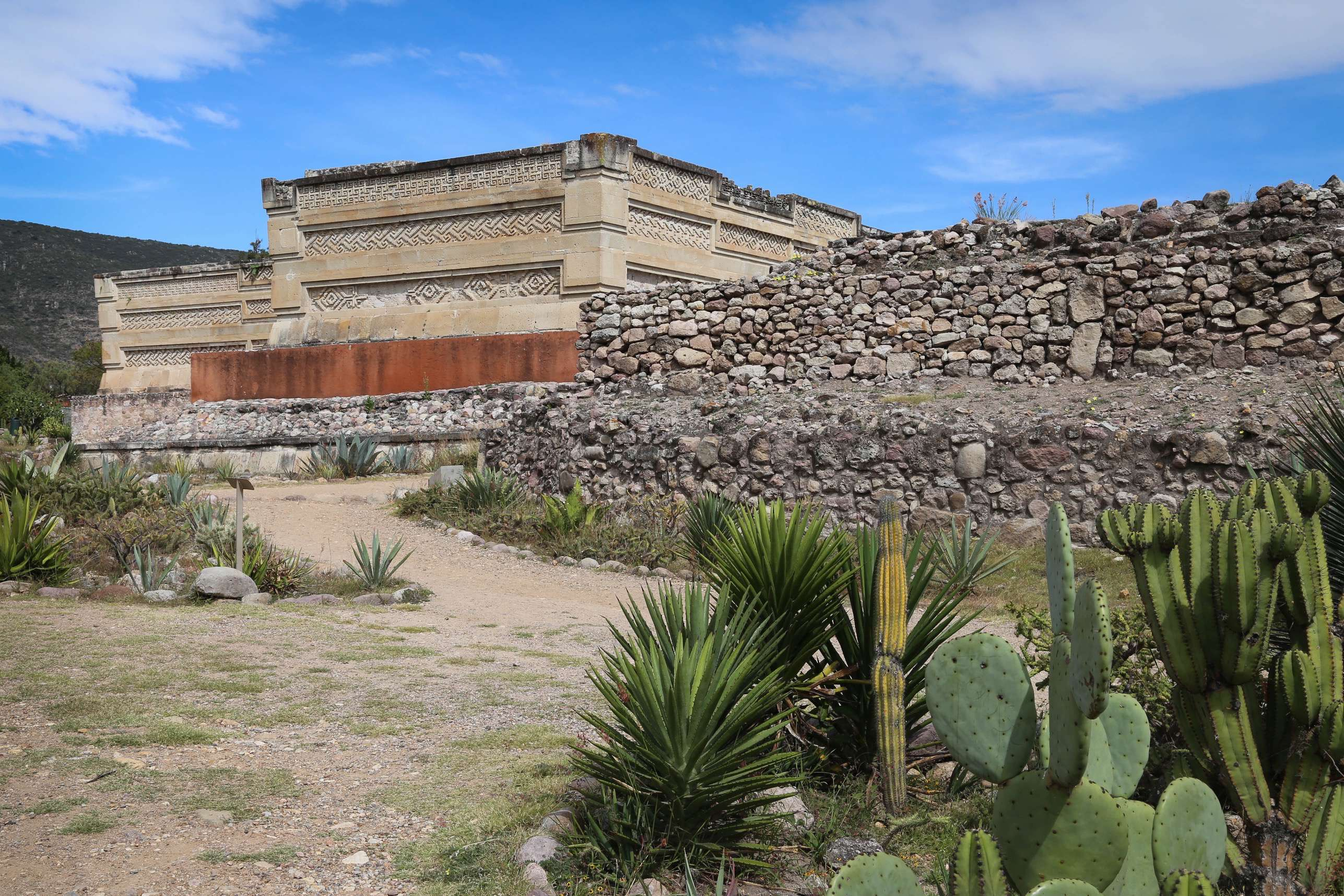 Mitla is the most important religious temple for the Zapotecs of Oaxaca, Mexico. Among its distinctive features are the fretworks of stone carvings that adorn the walls of the buildings in the complex.
