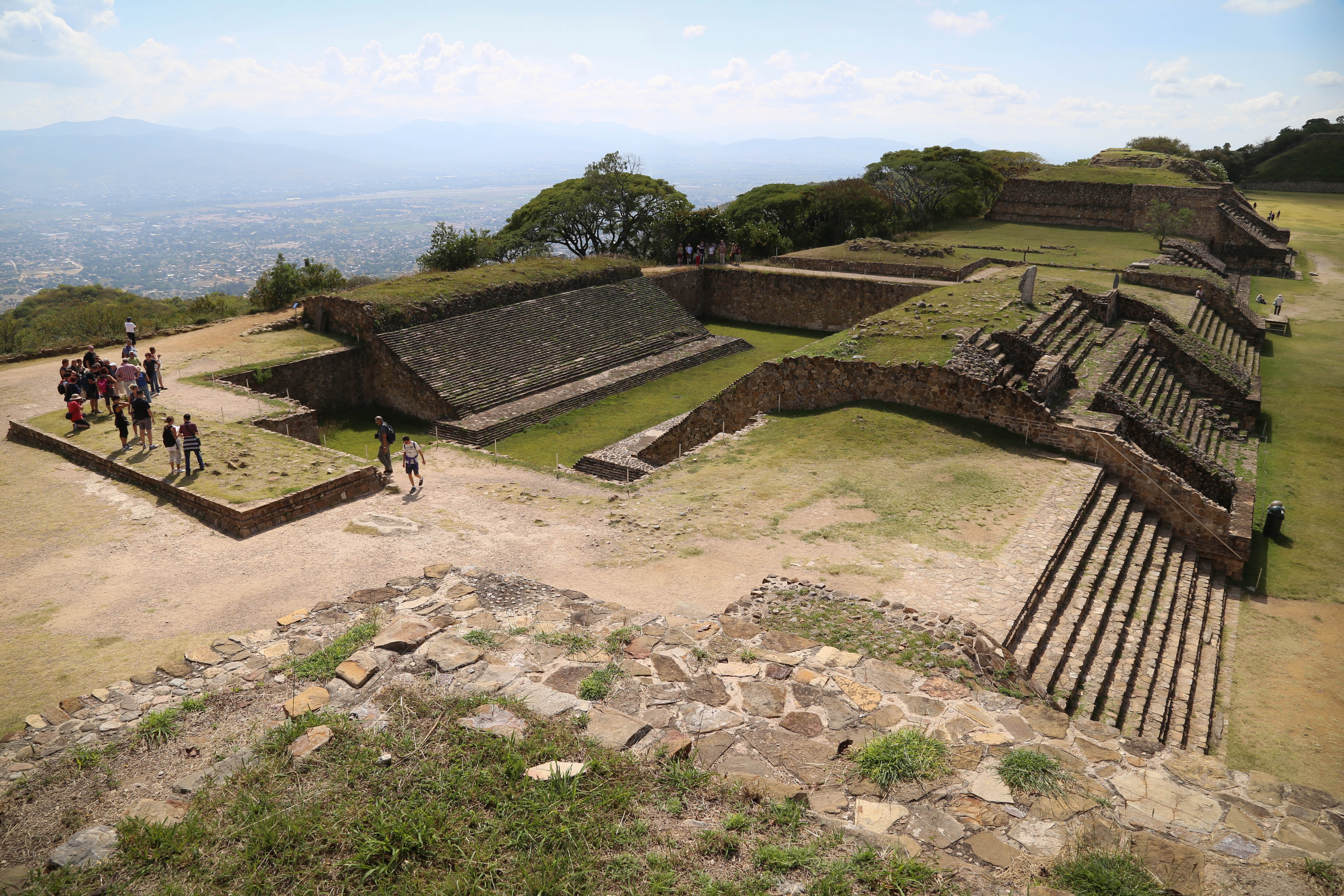 The ball court, left, is thought to have played a major part in the culture of the Zapotecs. It is believed the captain of the winning team was put to death.