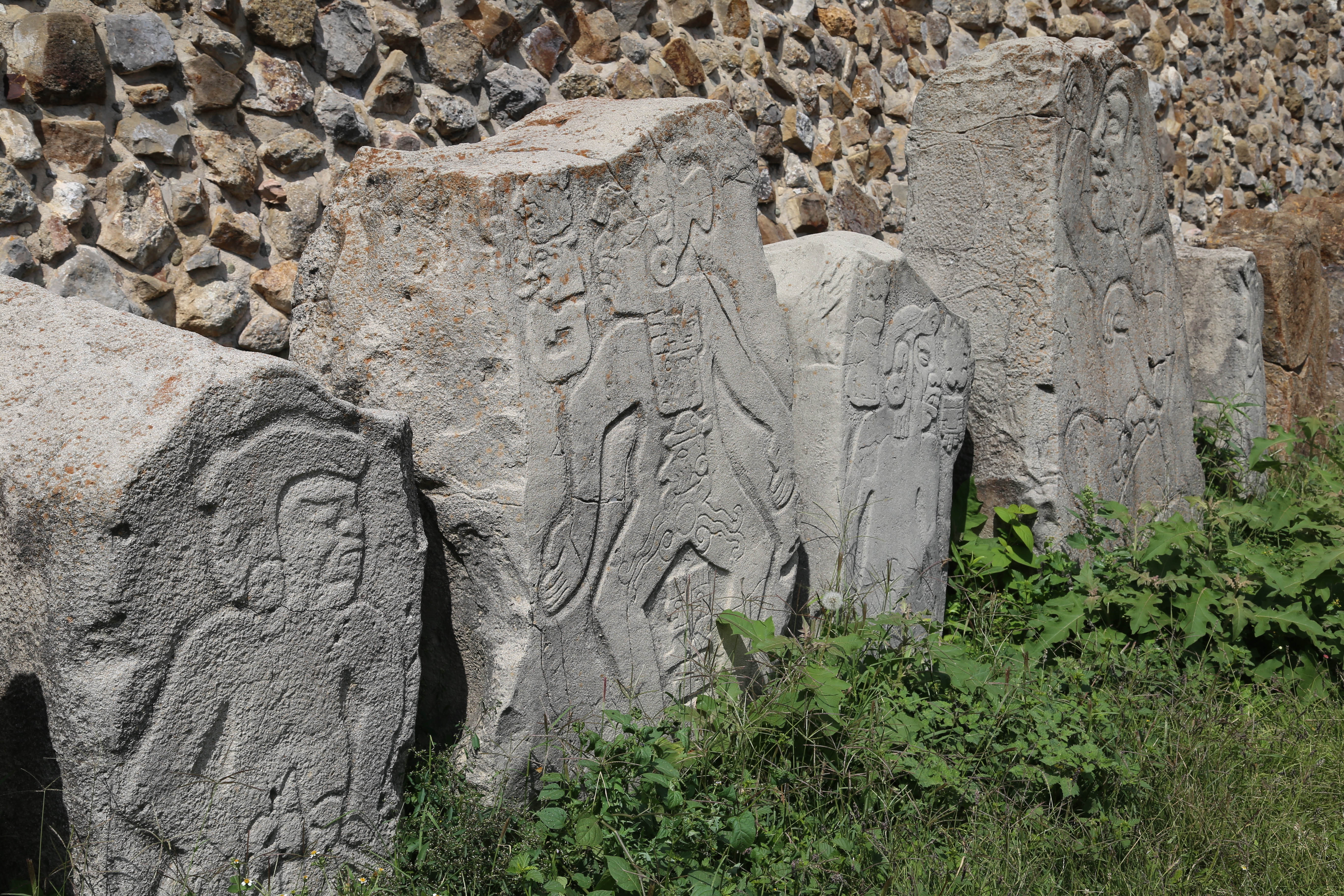 These replica carvings are left near where the originals were discovered by researchers.