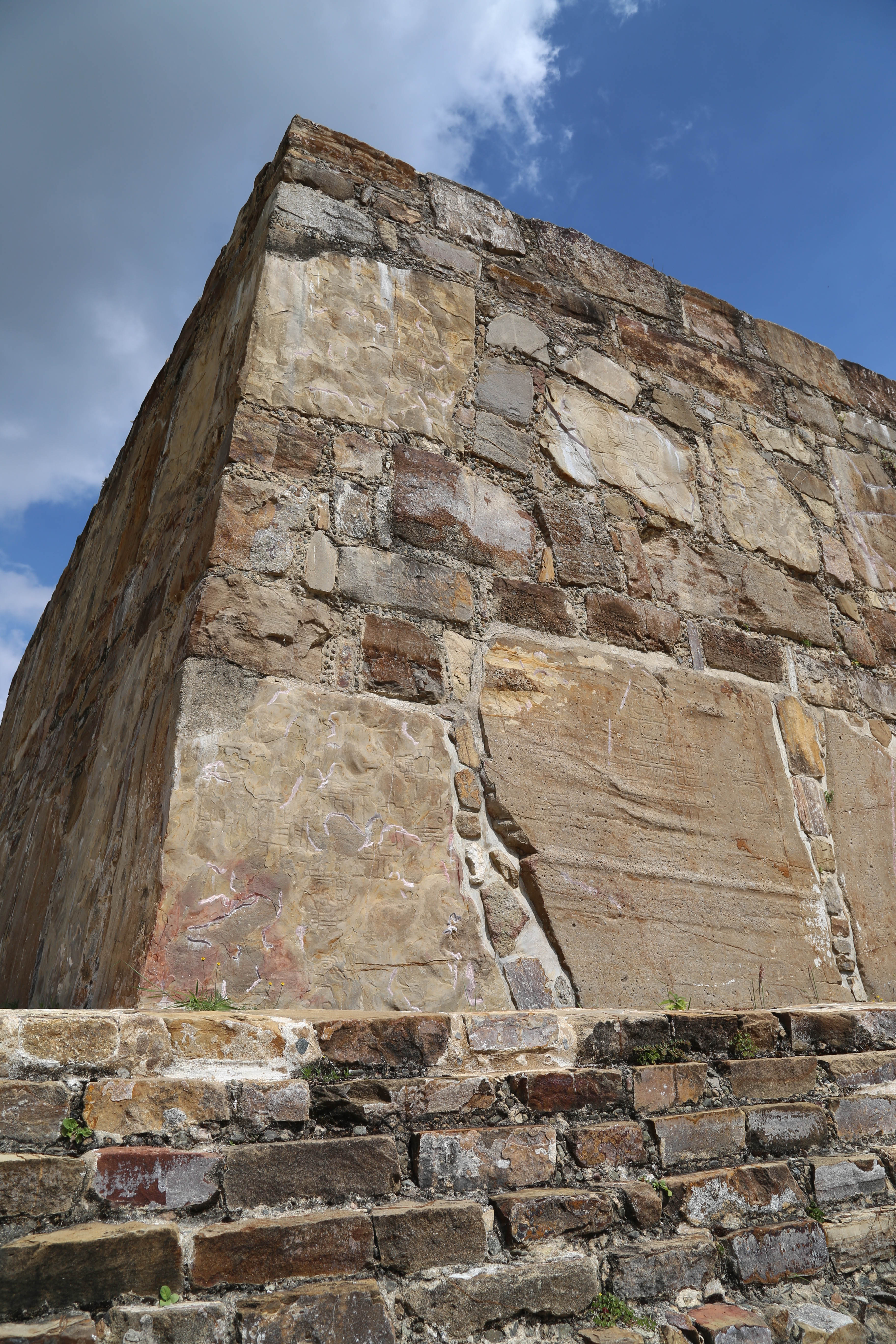 Massive stones, some of which were carried up from the valley below make up some of the many building at Monte Alban.