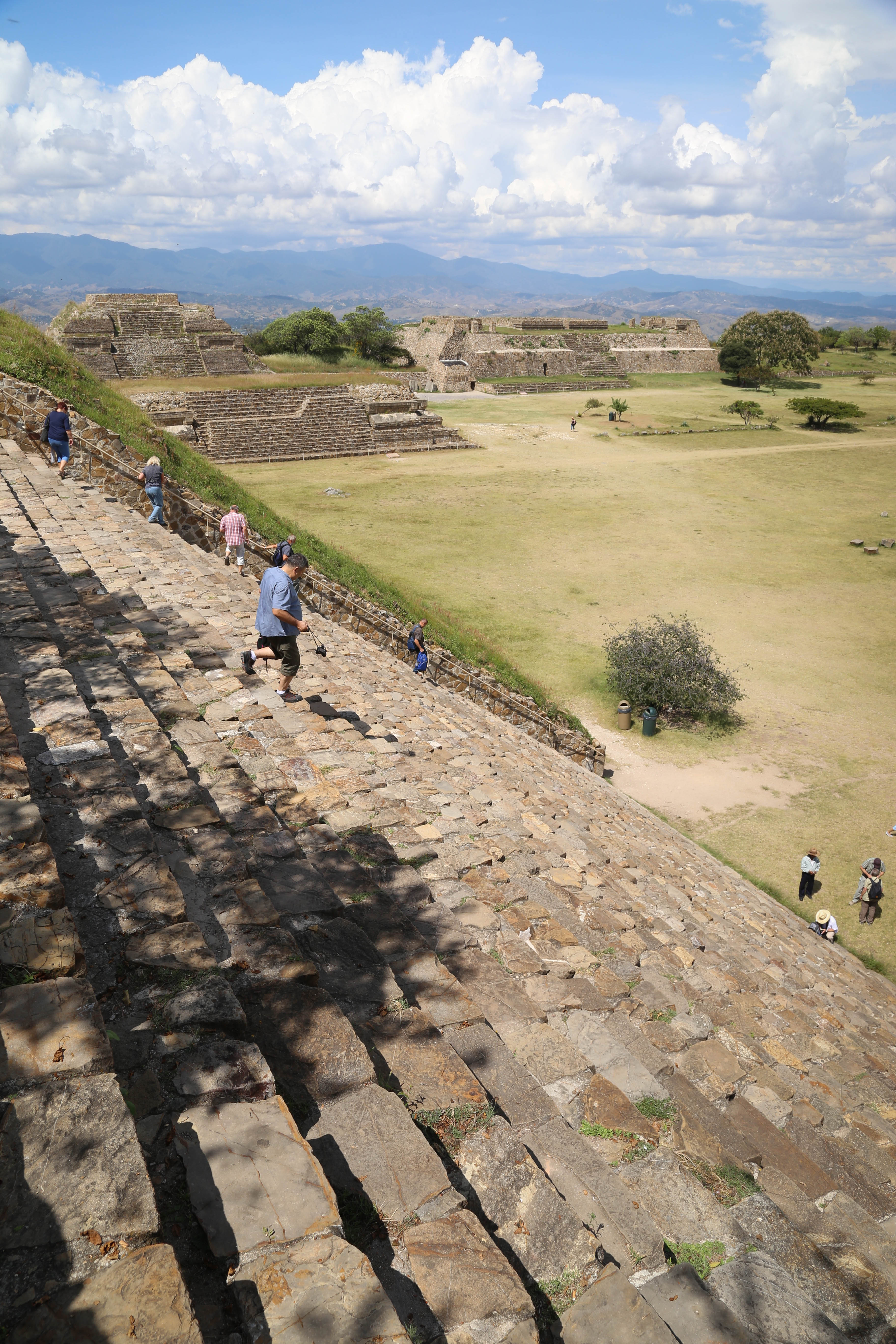 The steps at Monte Alban are steep and big. Great care must be taken going up and down.