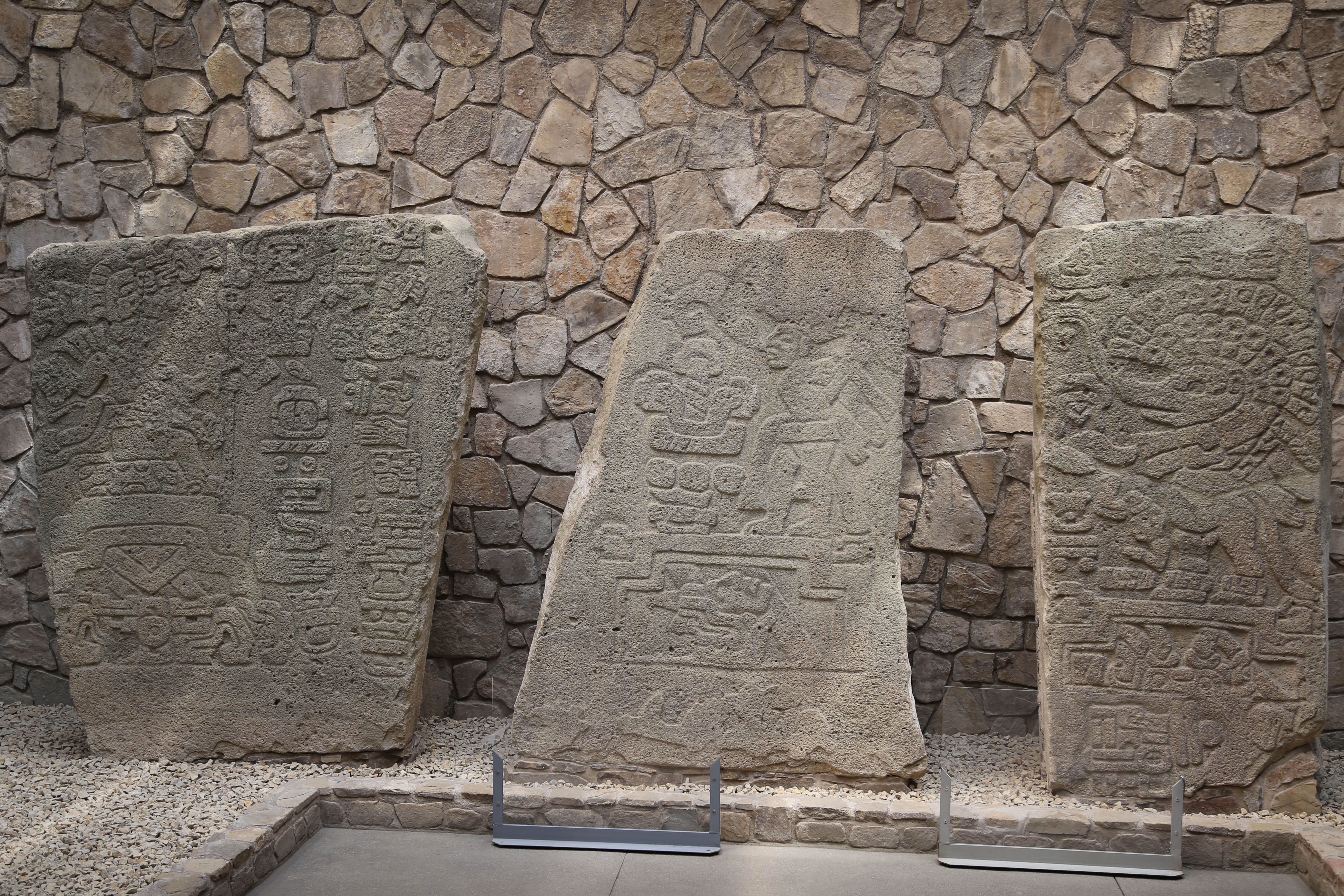 Archaeologists unearthed a large number of carved stones, like these at the visitor center.