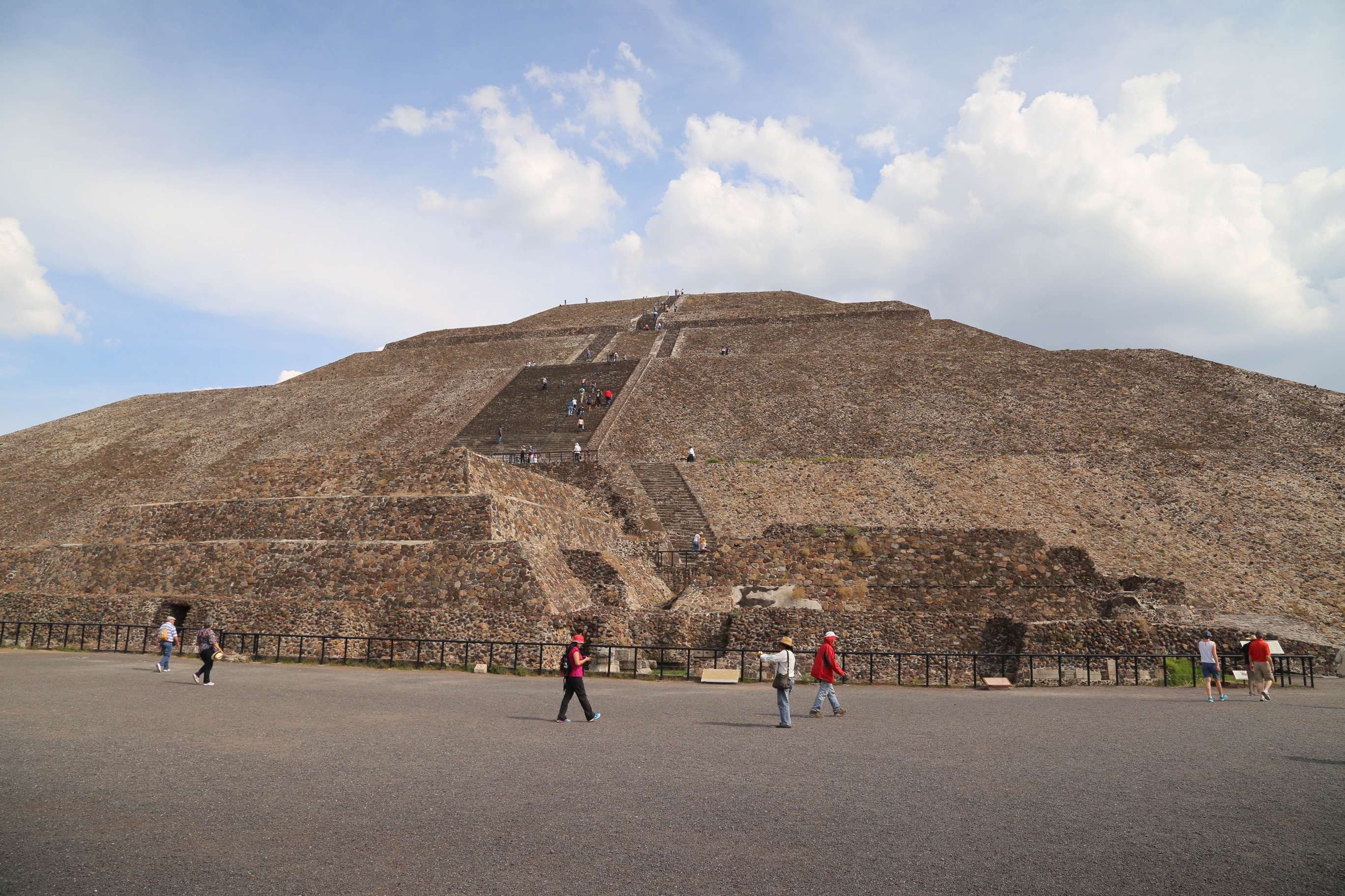 The scale at Teotihuacan is huge and to think this site was conceived and constructed by people who had no metal tools, horses or other draft animals boggles the mind.