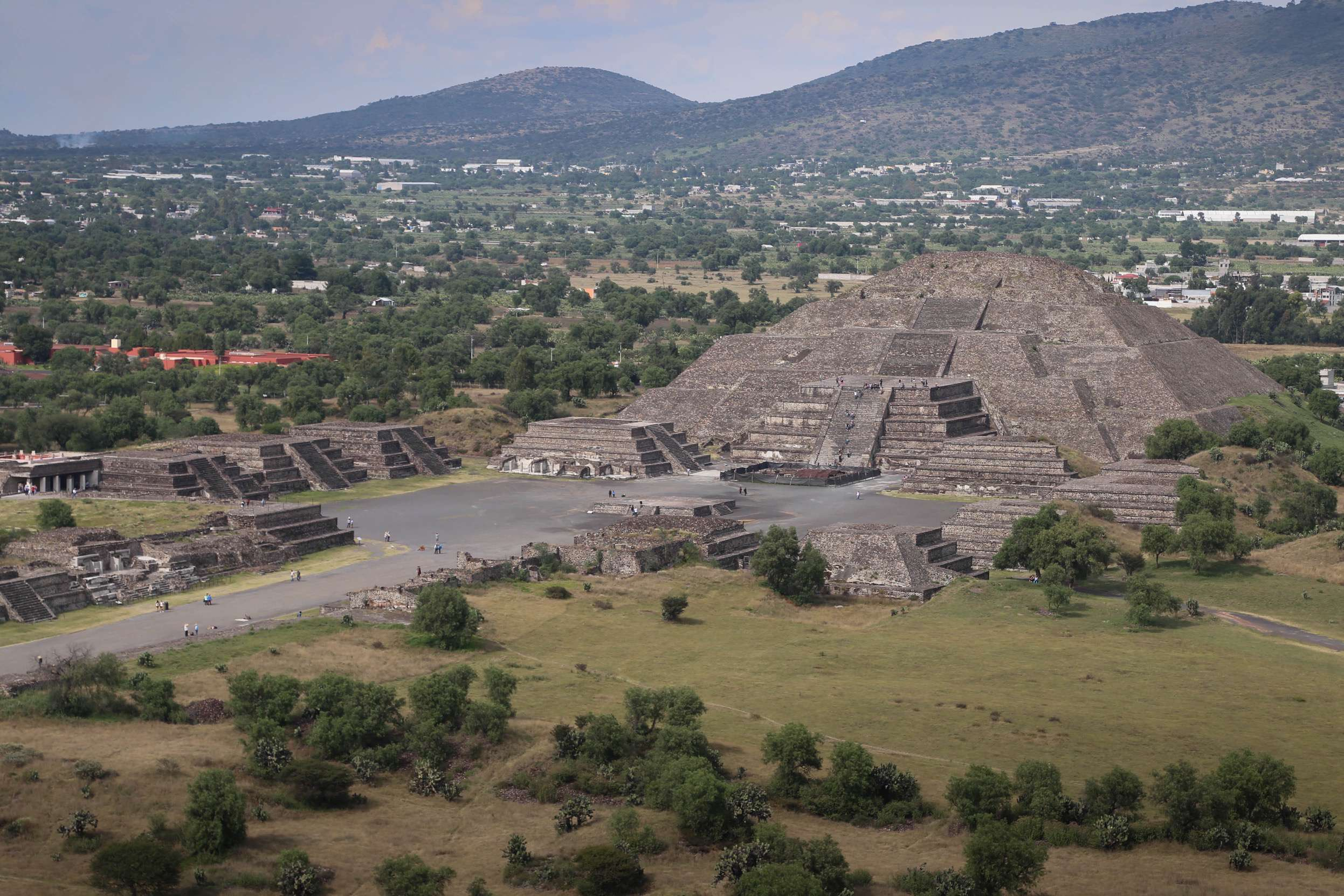 From the top of the Pyramid of the Sun, the Pyramid of the moon stands to the north, at the end of the Avenue of the Dead at Teotihuacan.