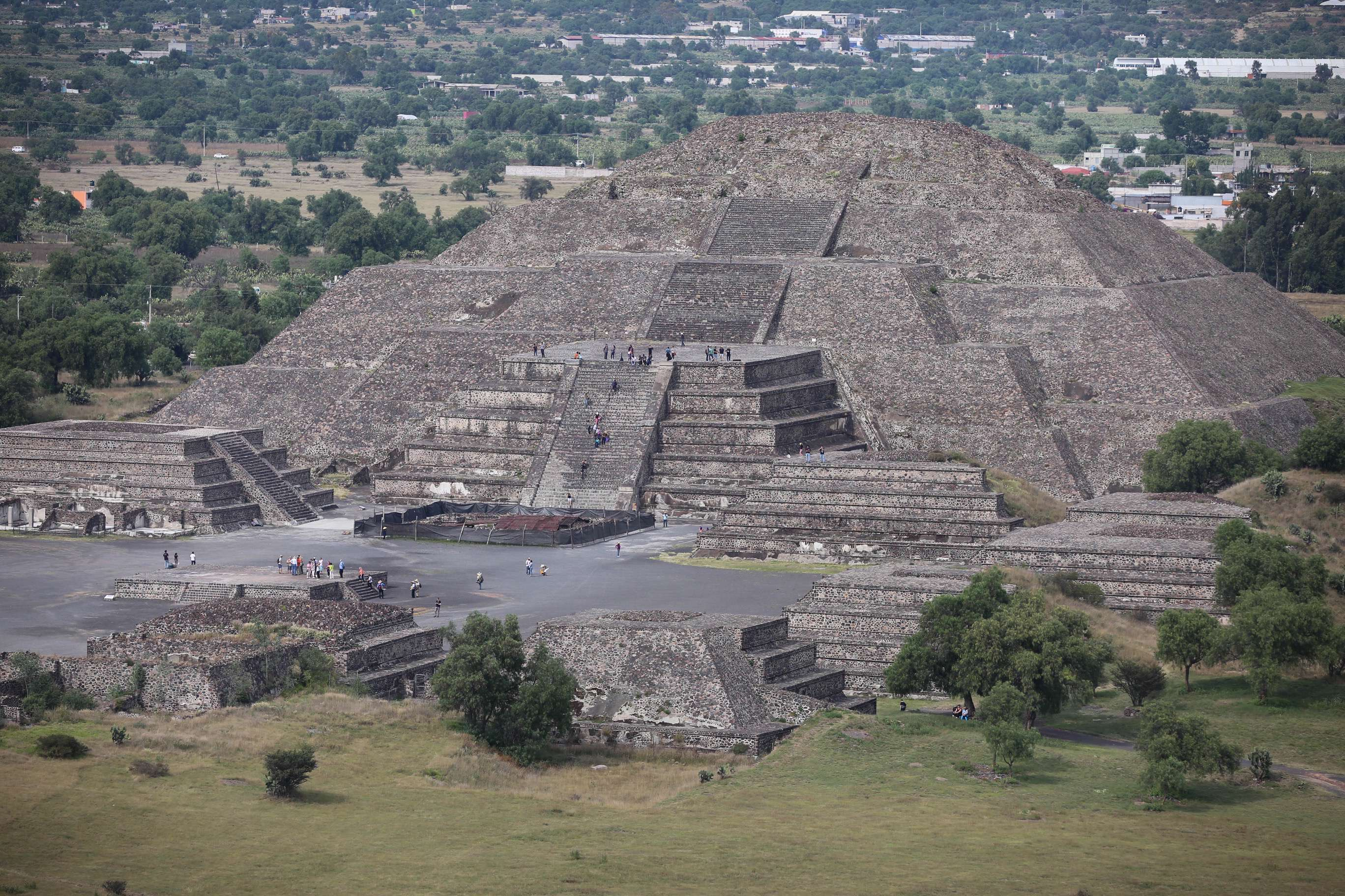 Though it is considerably smaller than the Pyramid of the Sun, the Pyramid of the moon still looms large and is an inviting climb for the millions of tourists who visit the site every year.