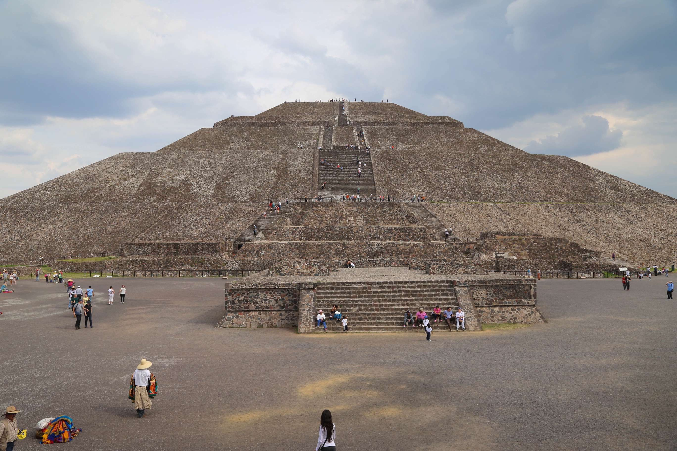 Teotihuacan's Pyramid of the Sun is massive and stands as the central element at the complex.