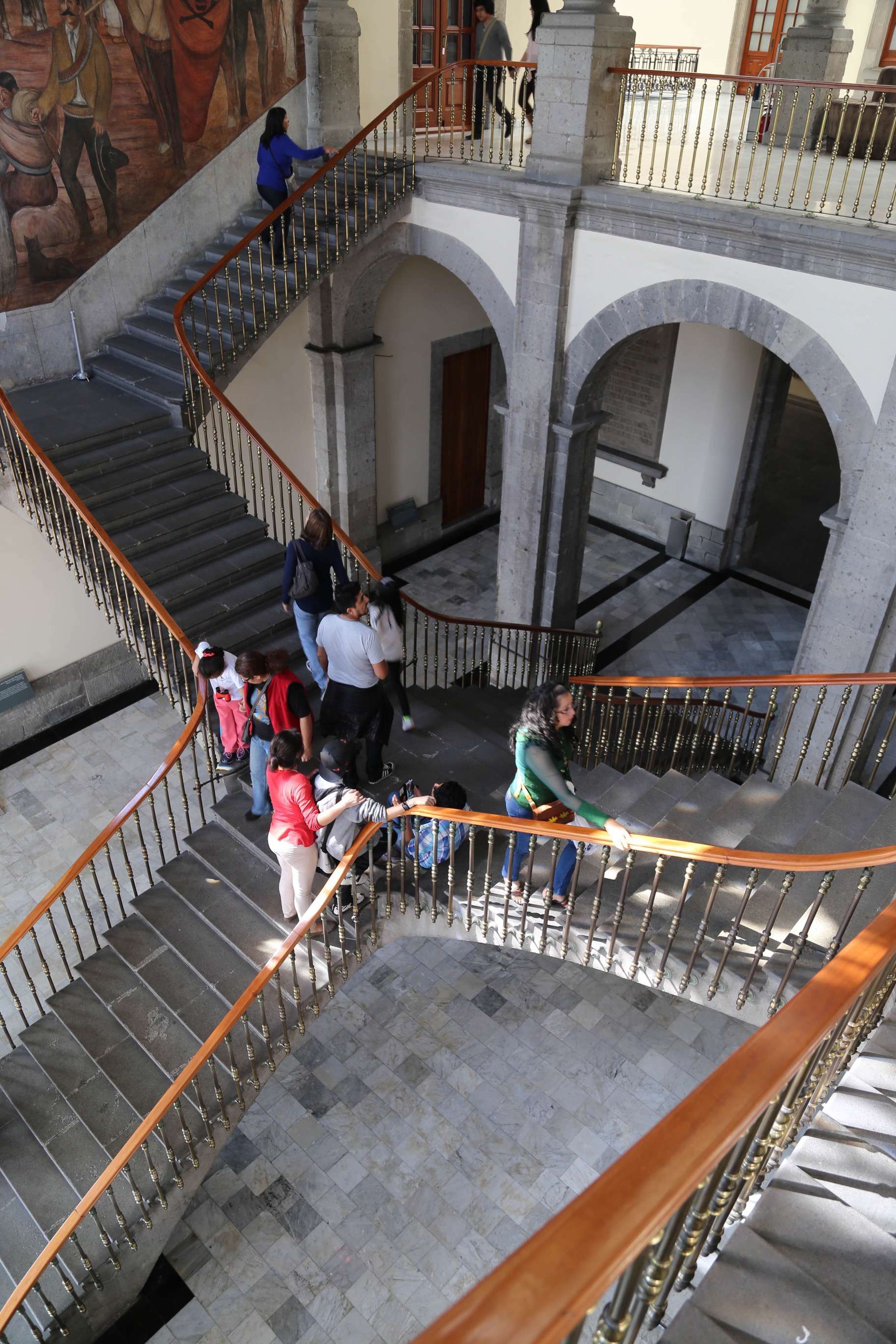 Staircases wend their way together at Chapultepec Castle.