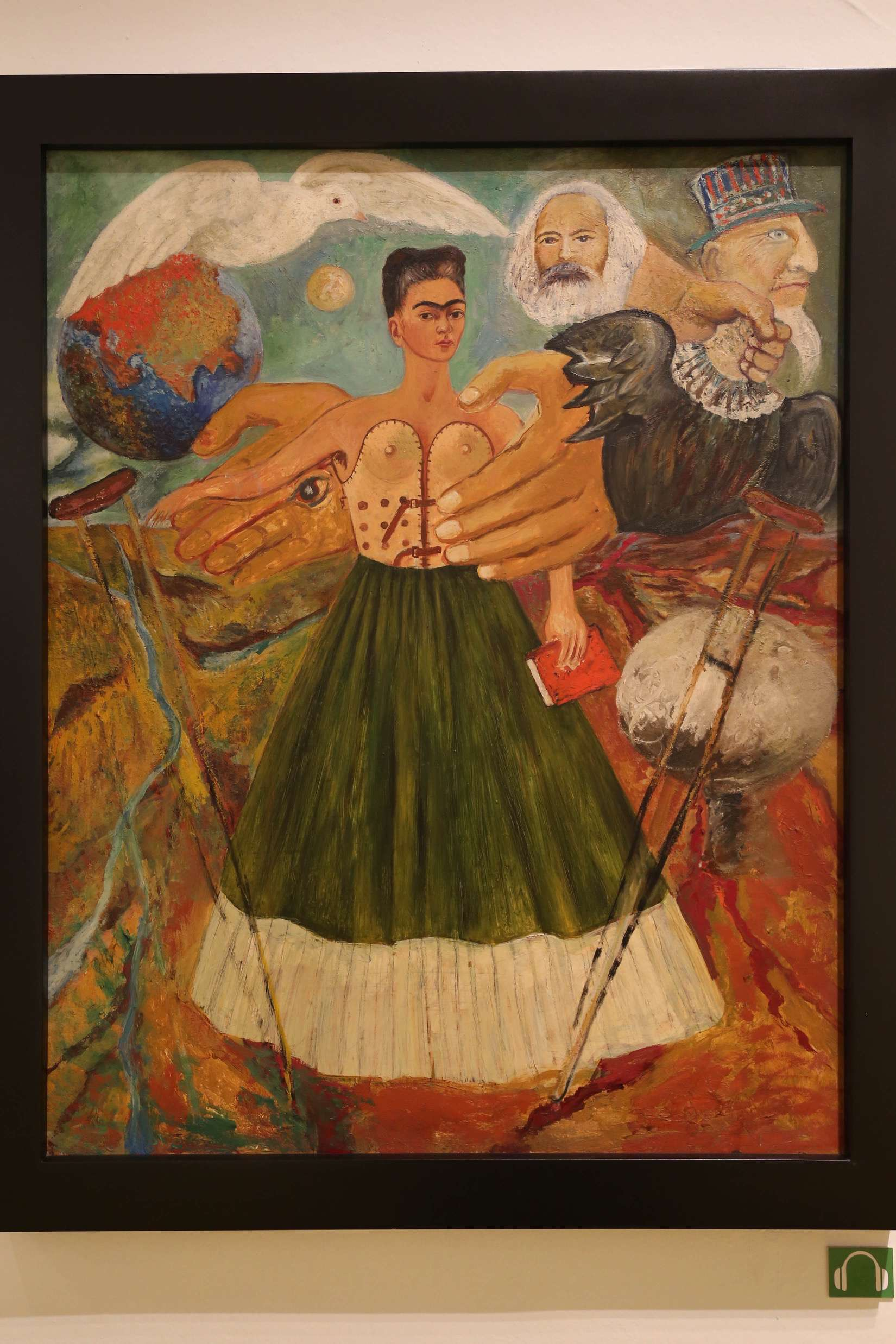 Frida Kahlo endured great pain, but that may have driven her to be such a great artist. This self portrait shows the complex and painful nature of her life.