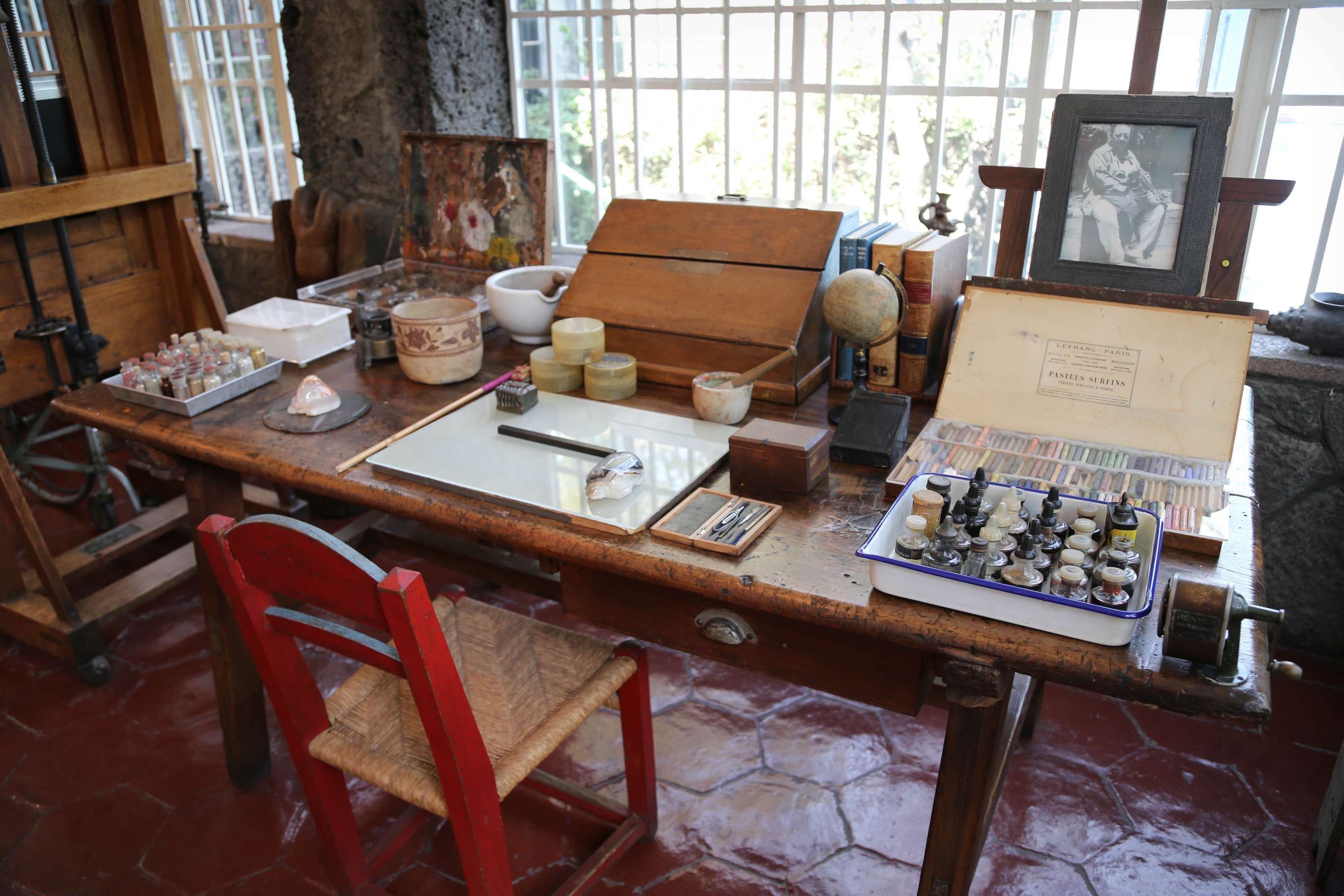 A working area of Frida Kahlo's studio at Casa Azul.