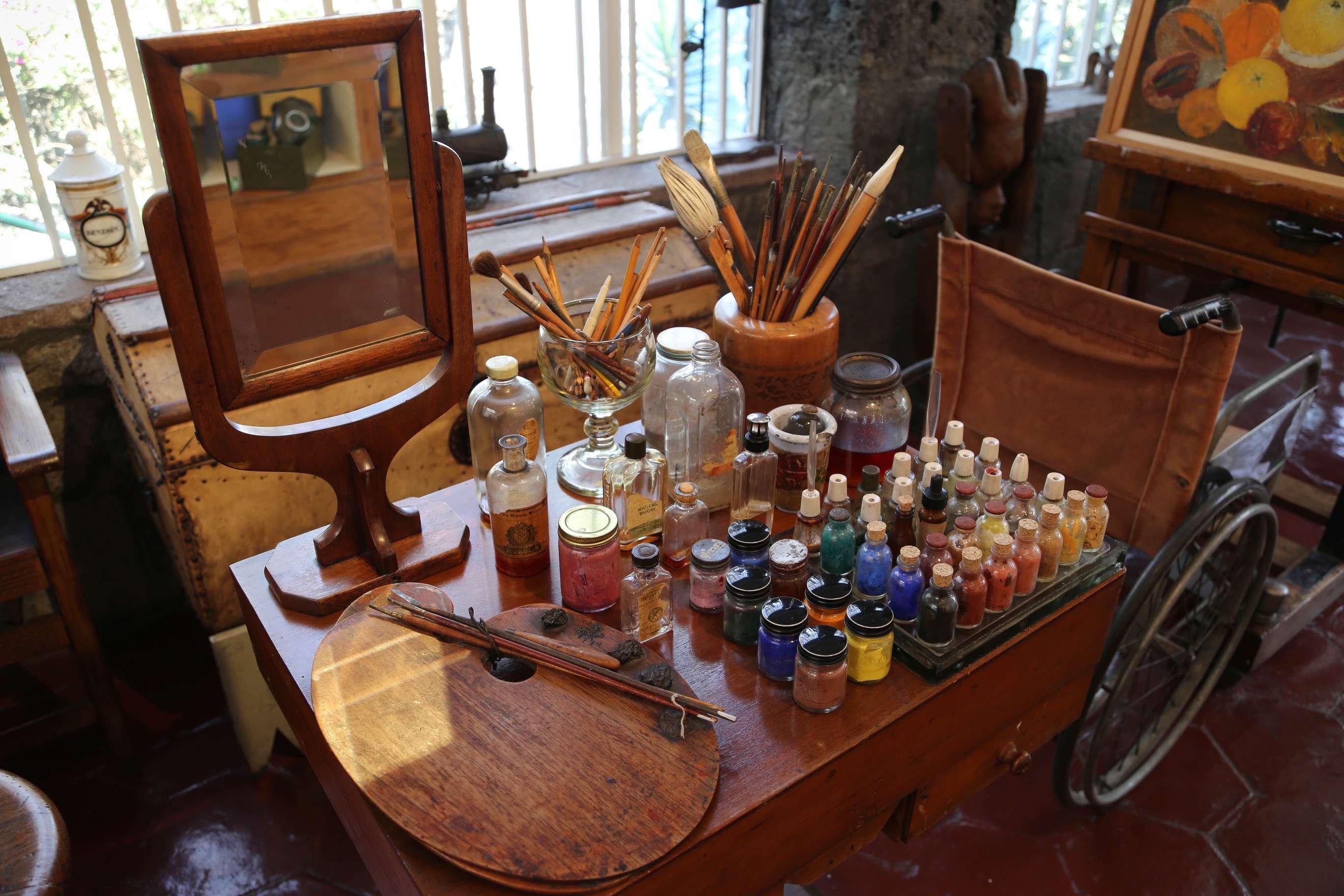 Frida Kahlo's studio was upstairs at Casa Azul.