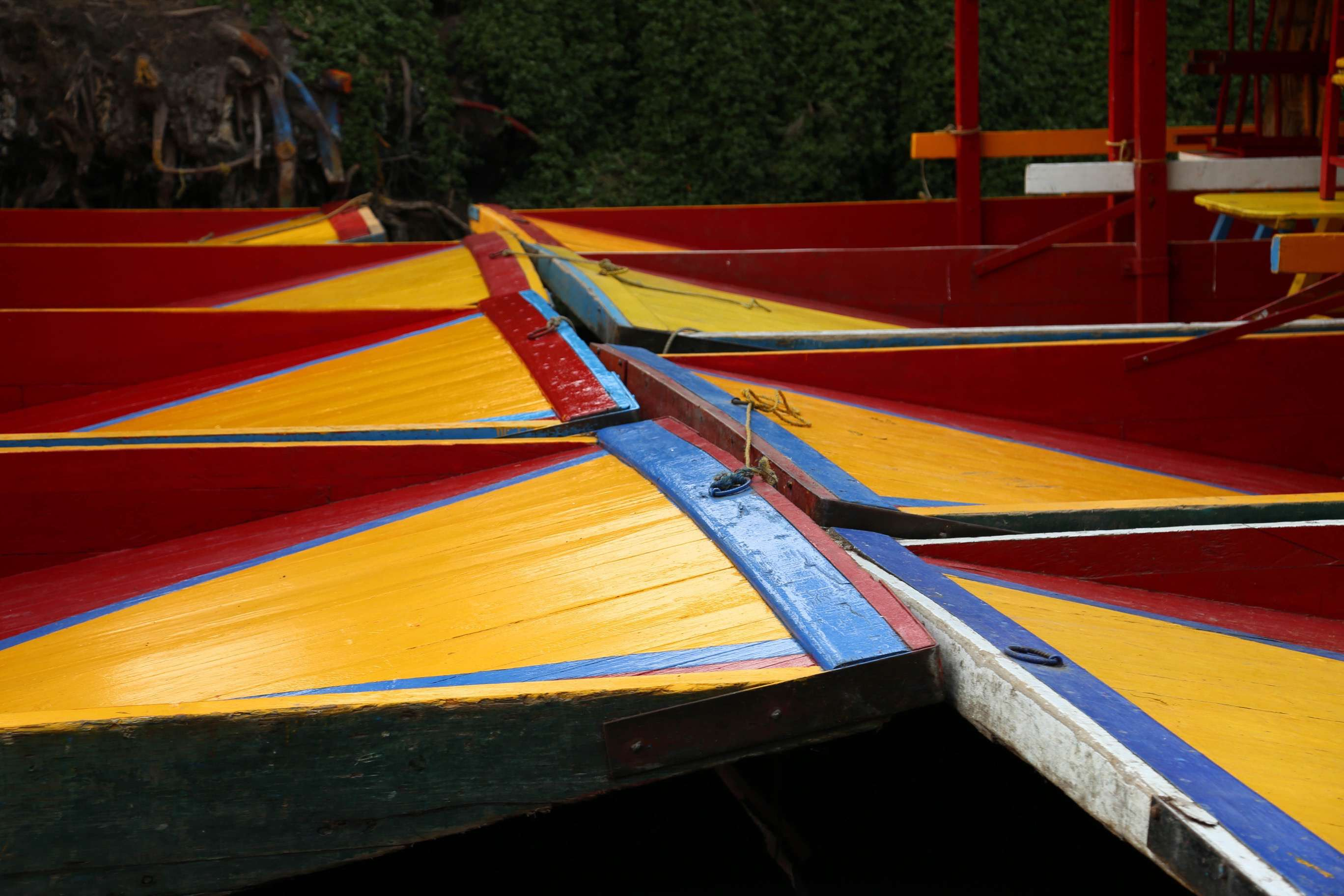 A group of trajineras are berthed together at the canals of Xochimilco.