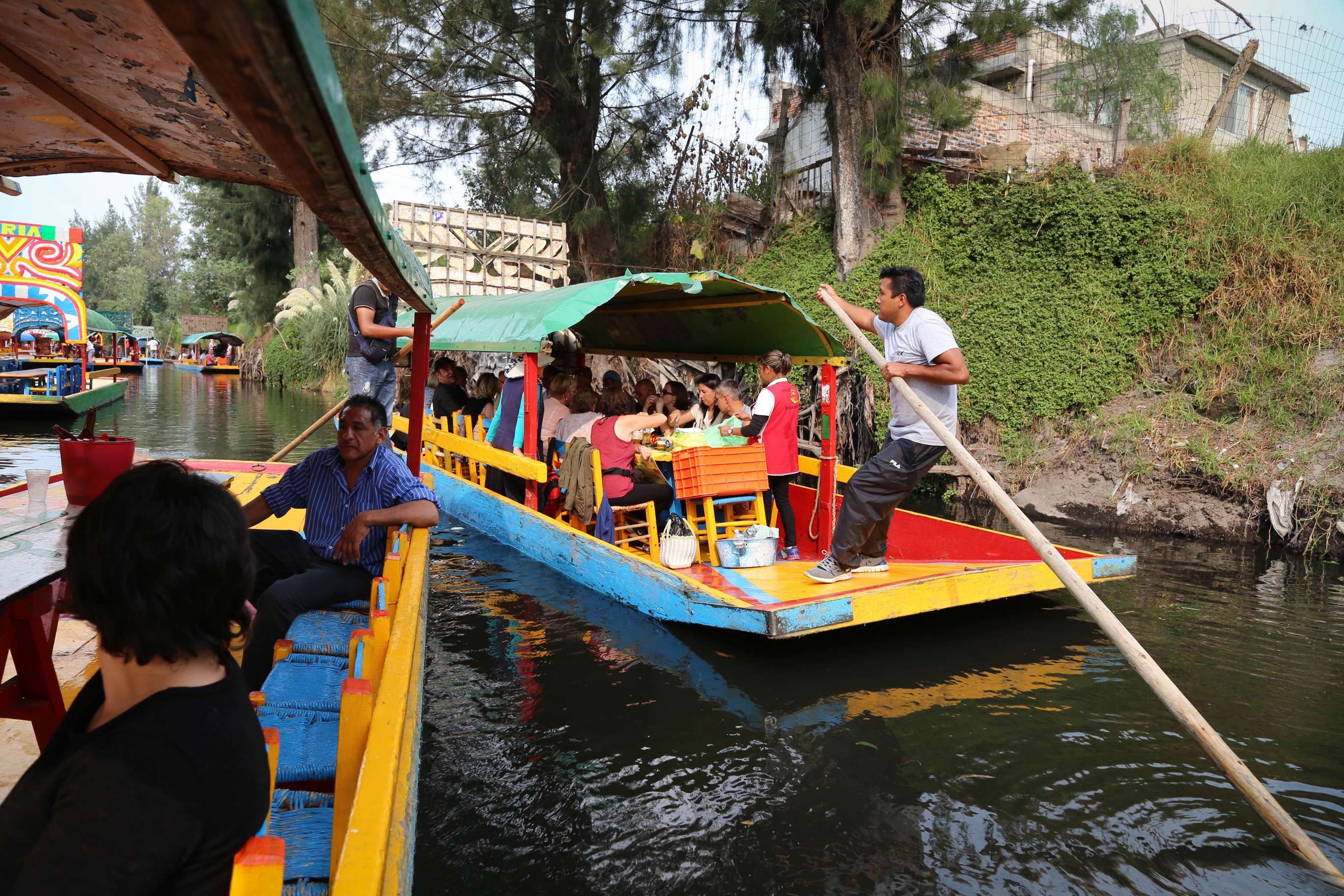 You can only go along the canals at Xochimilco as fast as the 'captain' can pole his boat.