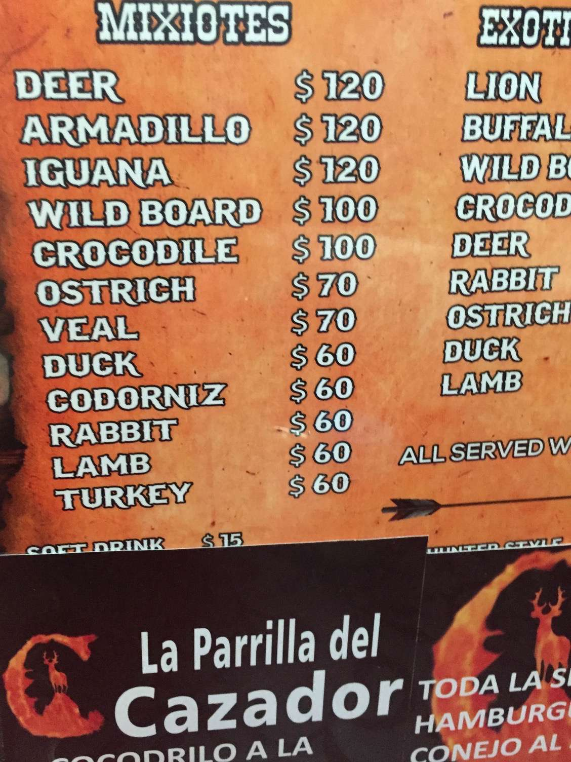 Mexico City is a meat-lover's paradise as this menu from a food walking tour attests.