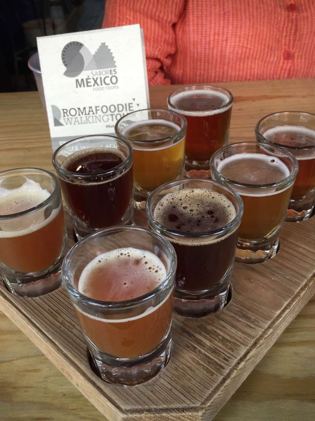 More known for tequila and mezcal, Mexico and Mexico City are home to some increasingly-appreciated craft beers, like this sampling during a walking tour of Barrio Roma.
