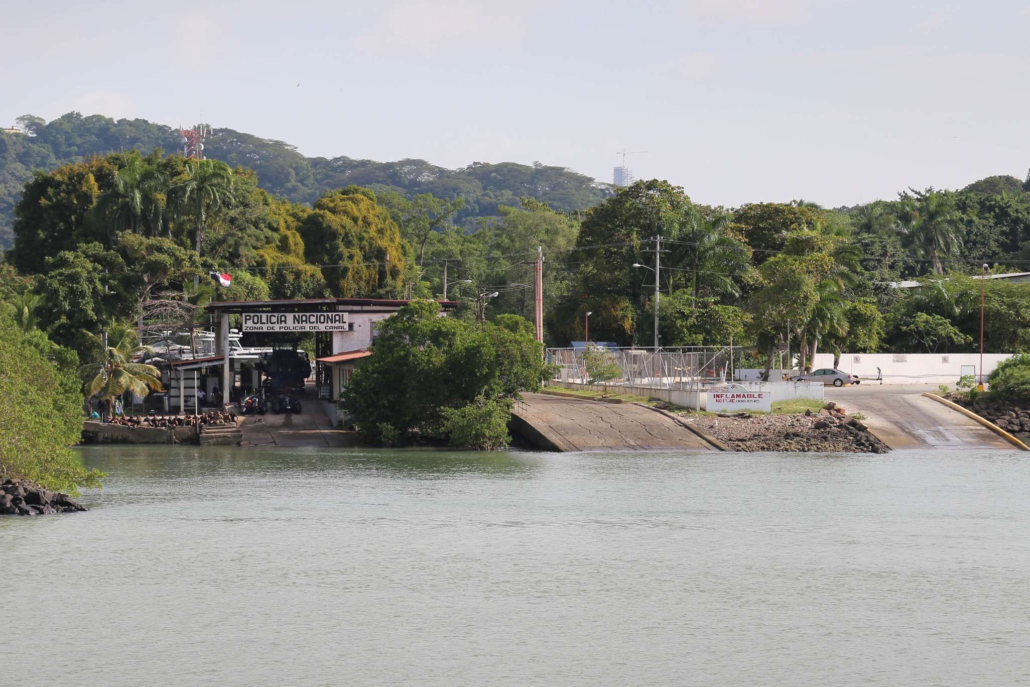 While the 20 or so men to the left of the dock seemed relaxed, they have the equipment and wherewithal to immediately respond to any problem within the Panama Canal zone.