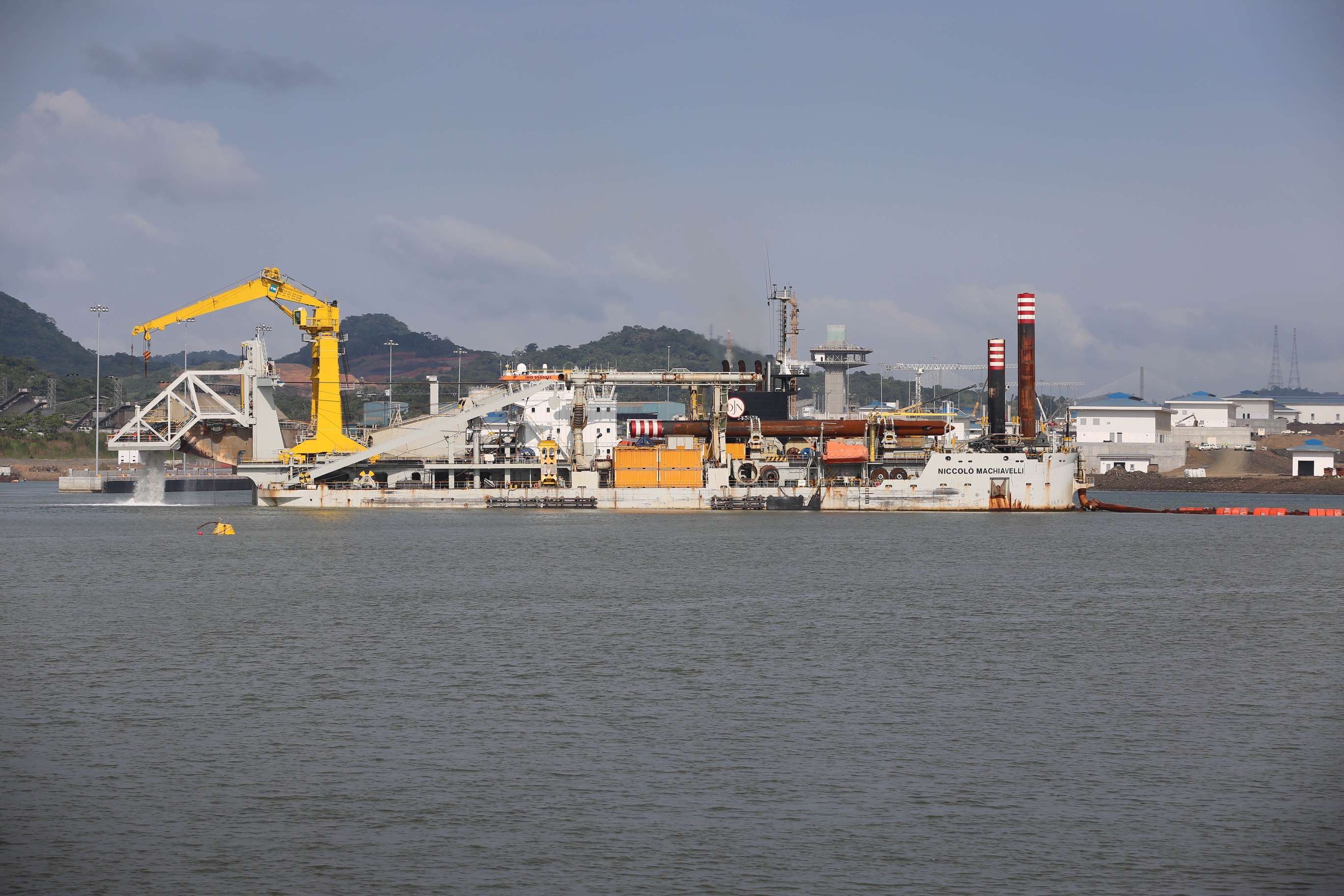 This odd-looking vessel is part of a dredging operation to make sure the bottom is deep enough to handle the giant ships that regularly travel the Panama Canal.