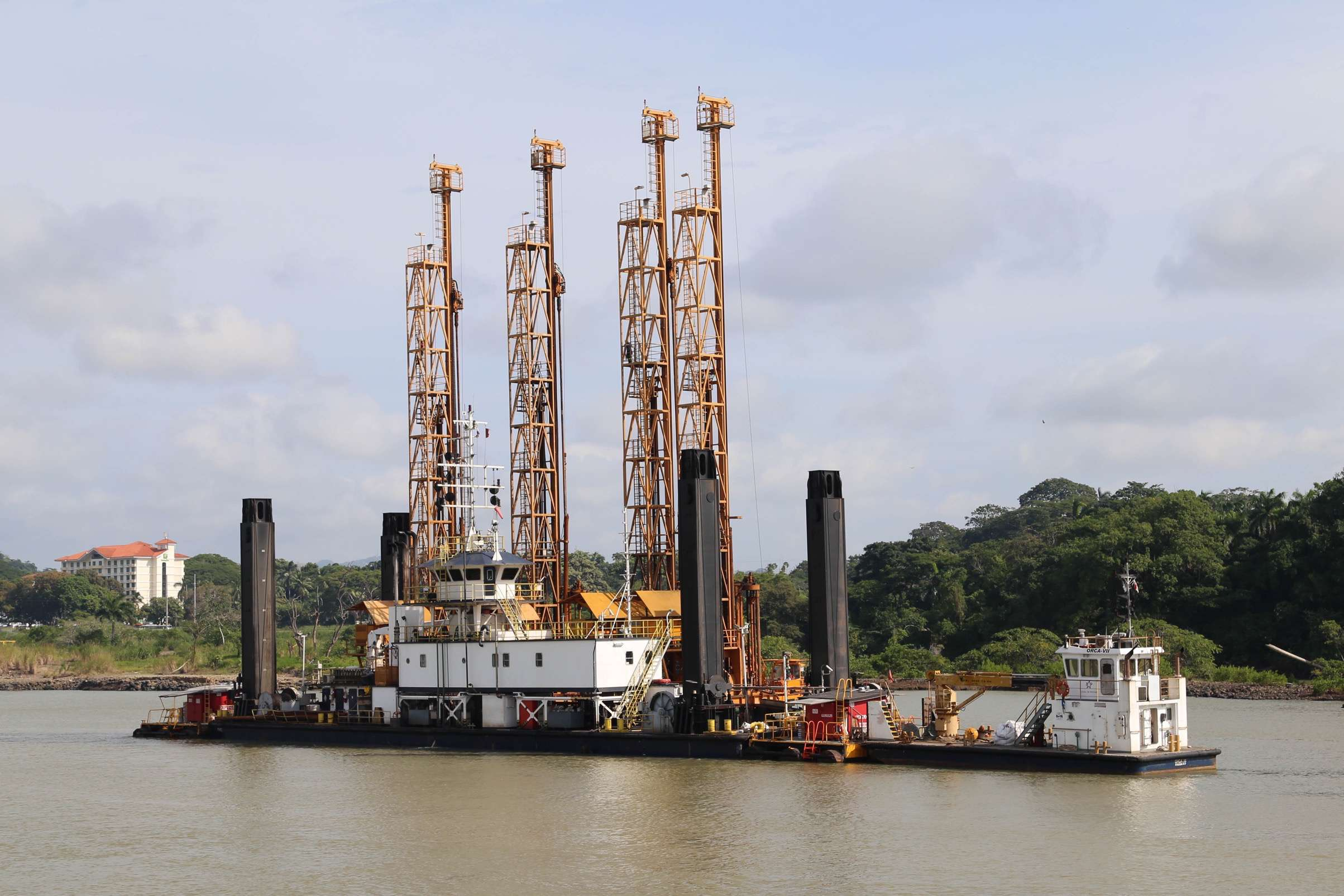 Dredging, core sampling and expansion work continues around the clock at the Panama Canal.