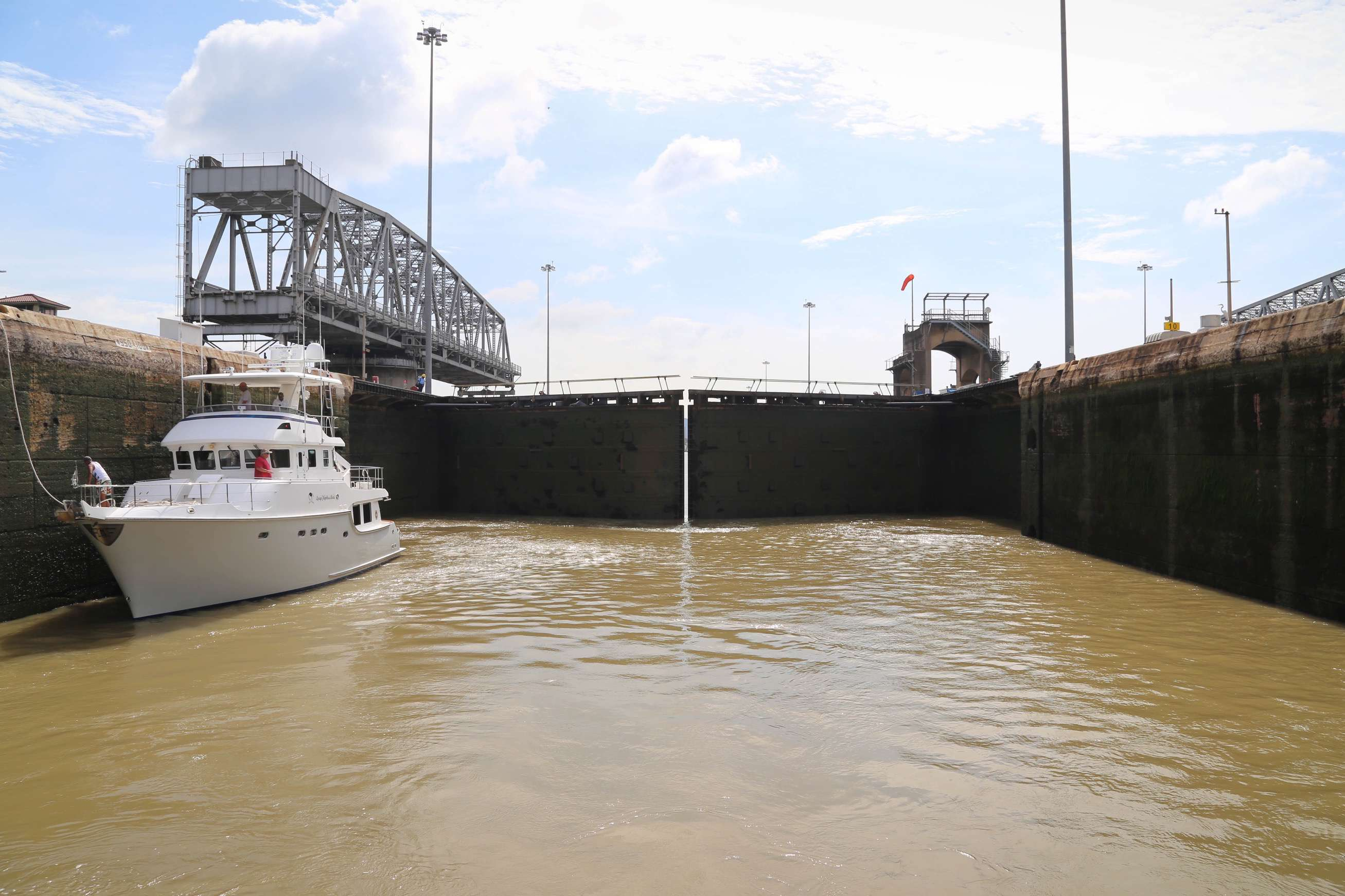 The gates of the locks are designed so that when they close, water pressure helps ensure a tight seal.