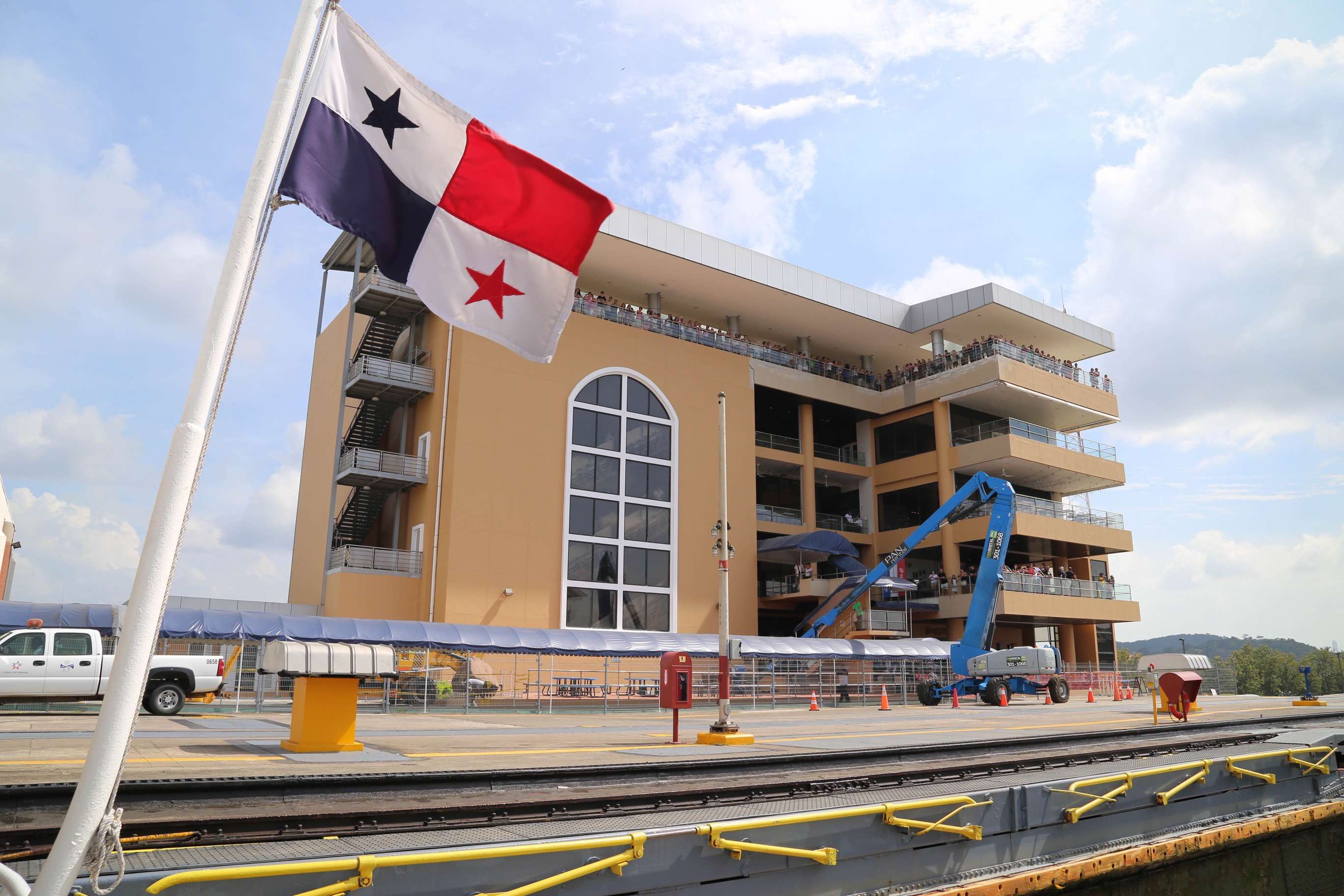 The Miraflores Visitor Center at the Panama Canal offers sweeping views of the canal.