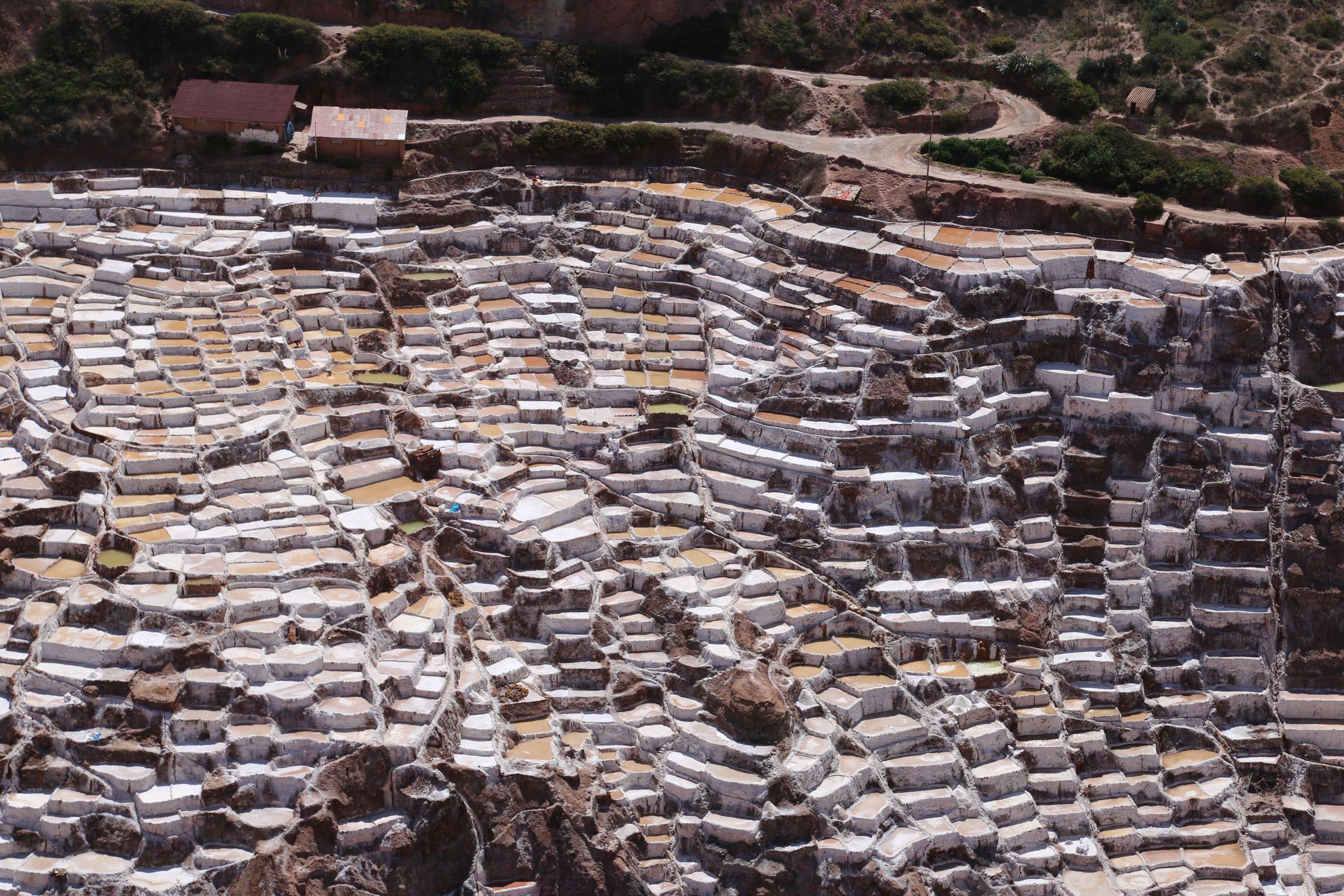 From a distance you might wonder where the snow came from, the hillside is so bright. But as you get closer, you appreciate the importance of the Maras salt works.