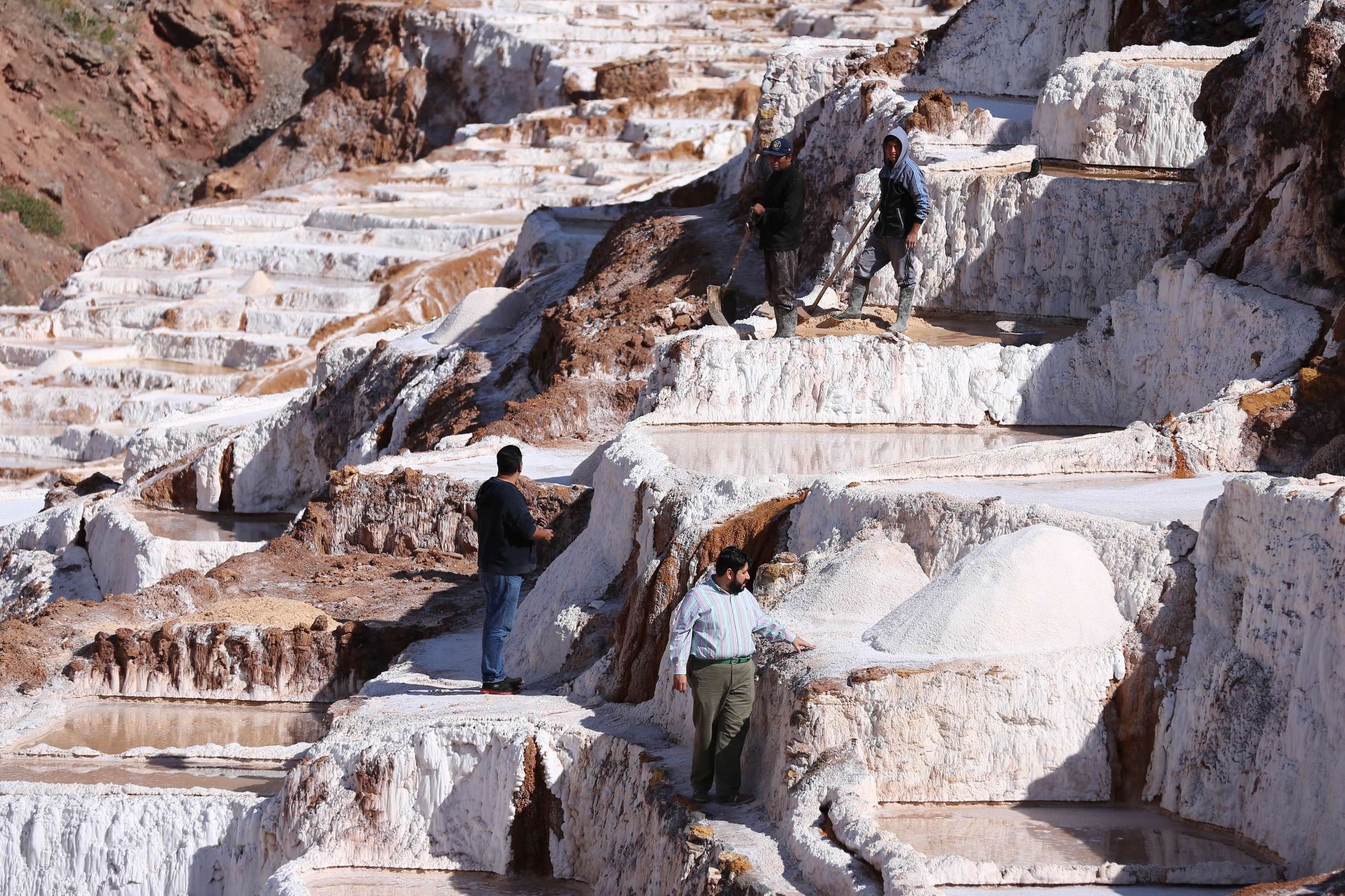 For visitors, it's just a stroll through along the salt ponds, but for the people of Maras, Peru, it's a centuries-old livelihood.