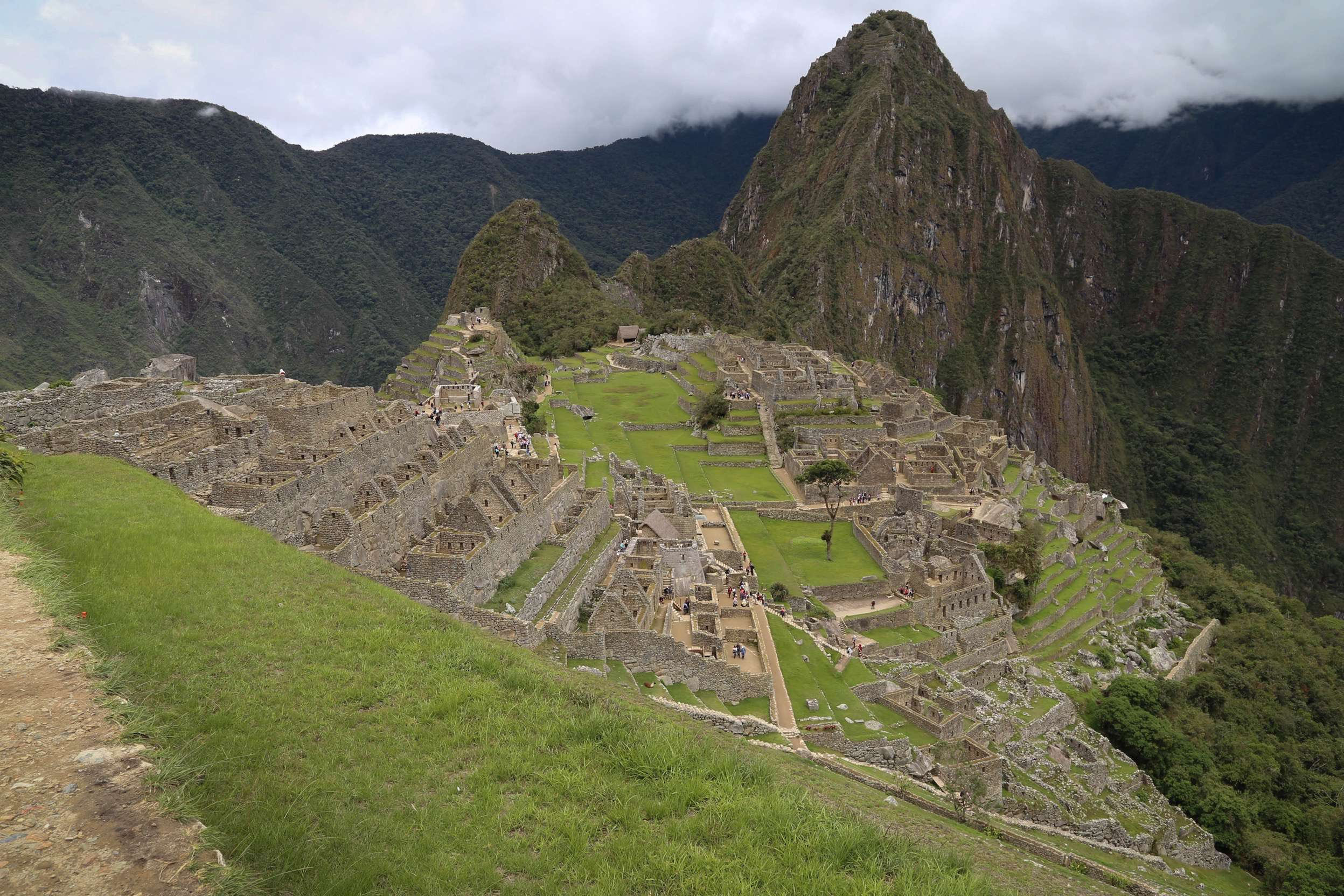 There are about 600 terraces, each carefully built by hand, more than 100 buildings, along with ramps and roads.