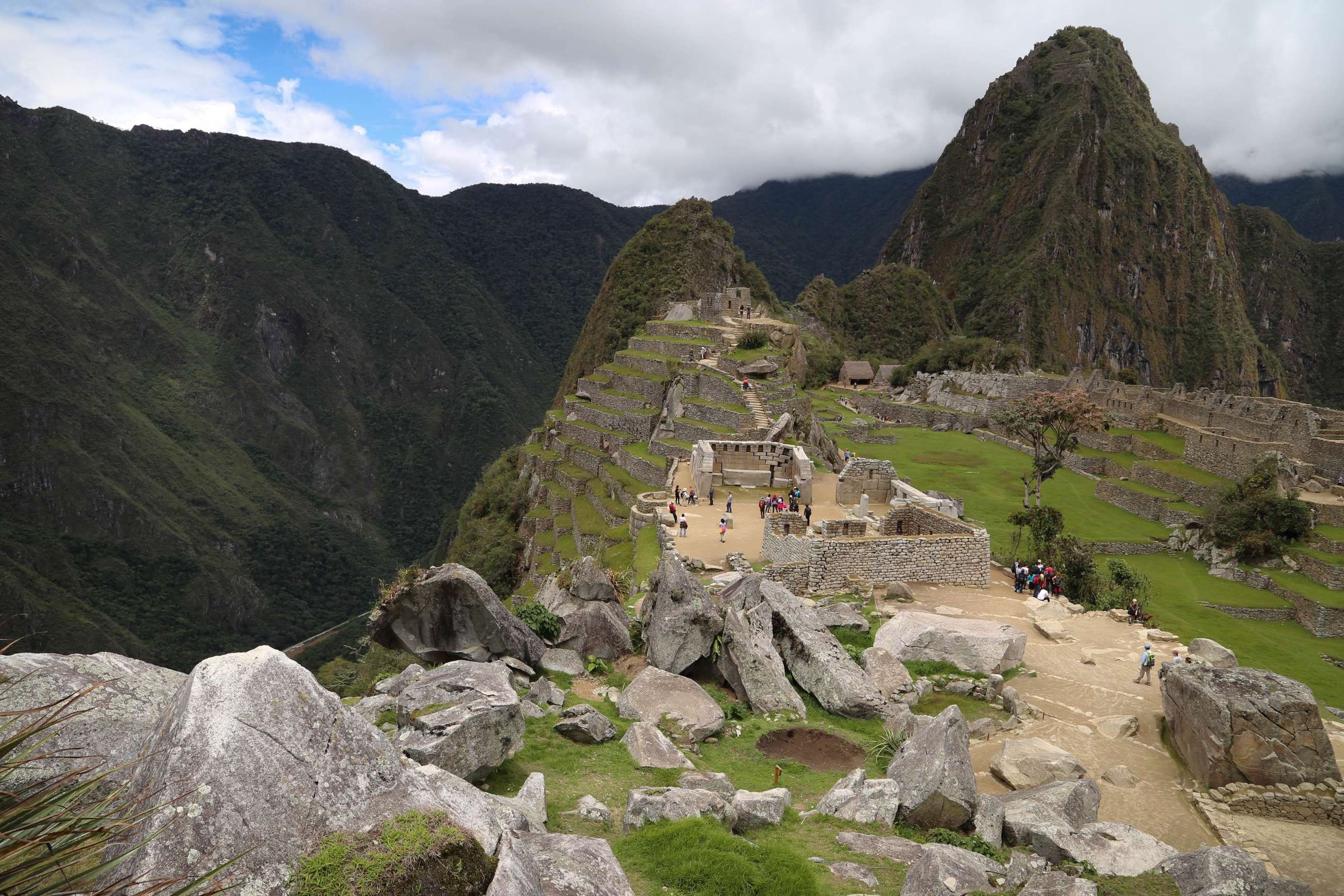 Granite, in this case, white, is an excellent building material and was plentiful at Machu Picchu and was quarried on site, as evidenced by the boulders found only at one place at Machu Picchu.