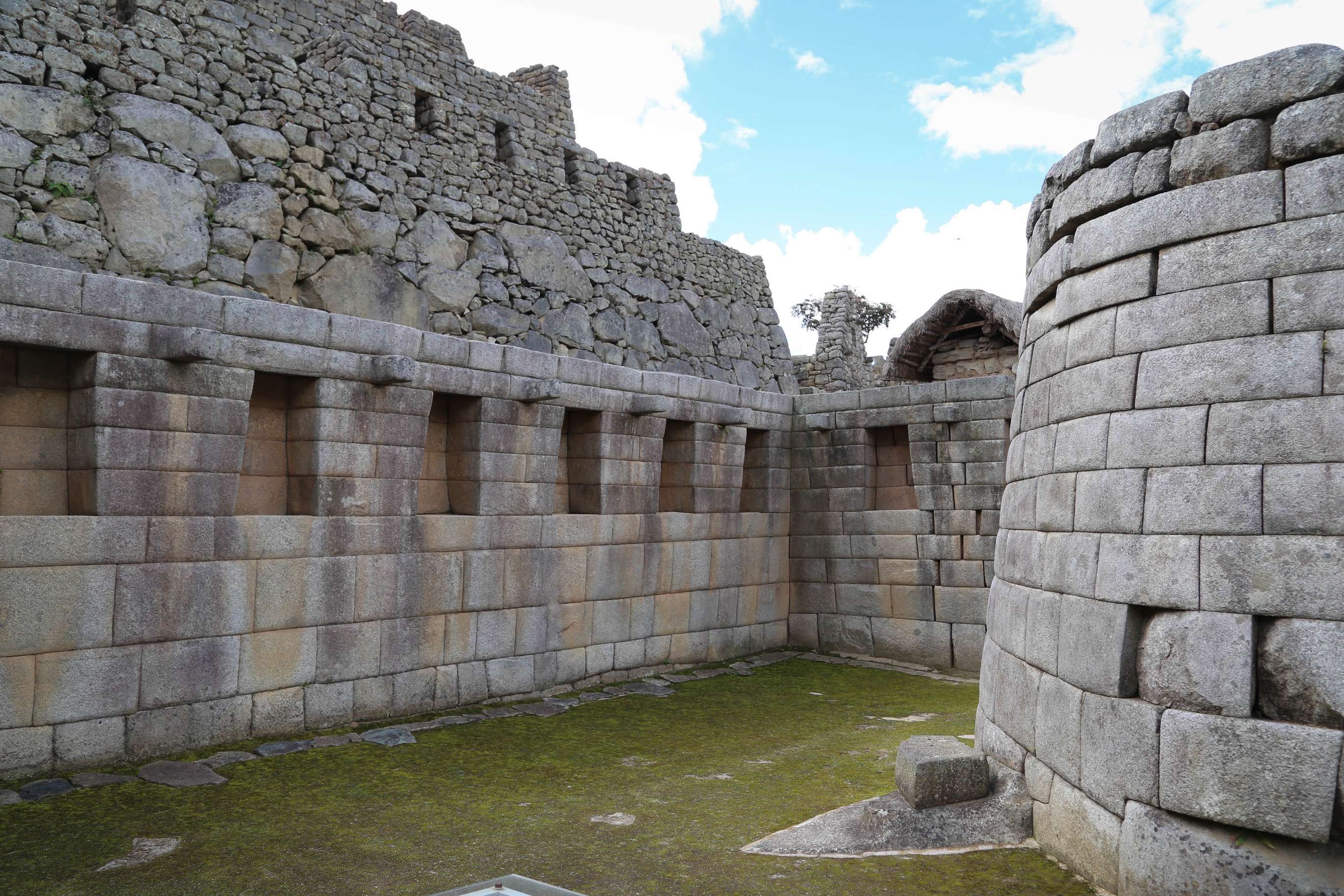 Most of Machu Picchu has been reconstructed and the difference between the stonework of the Incas and their modern-day relatives is easy to see, with the near-perfect stones on the bottom and the looser fit of the restored stones.