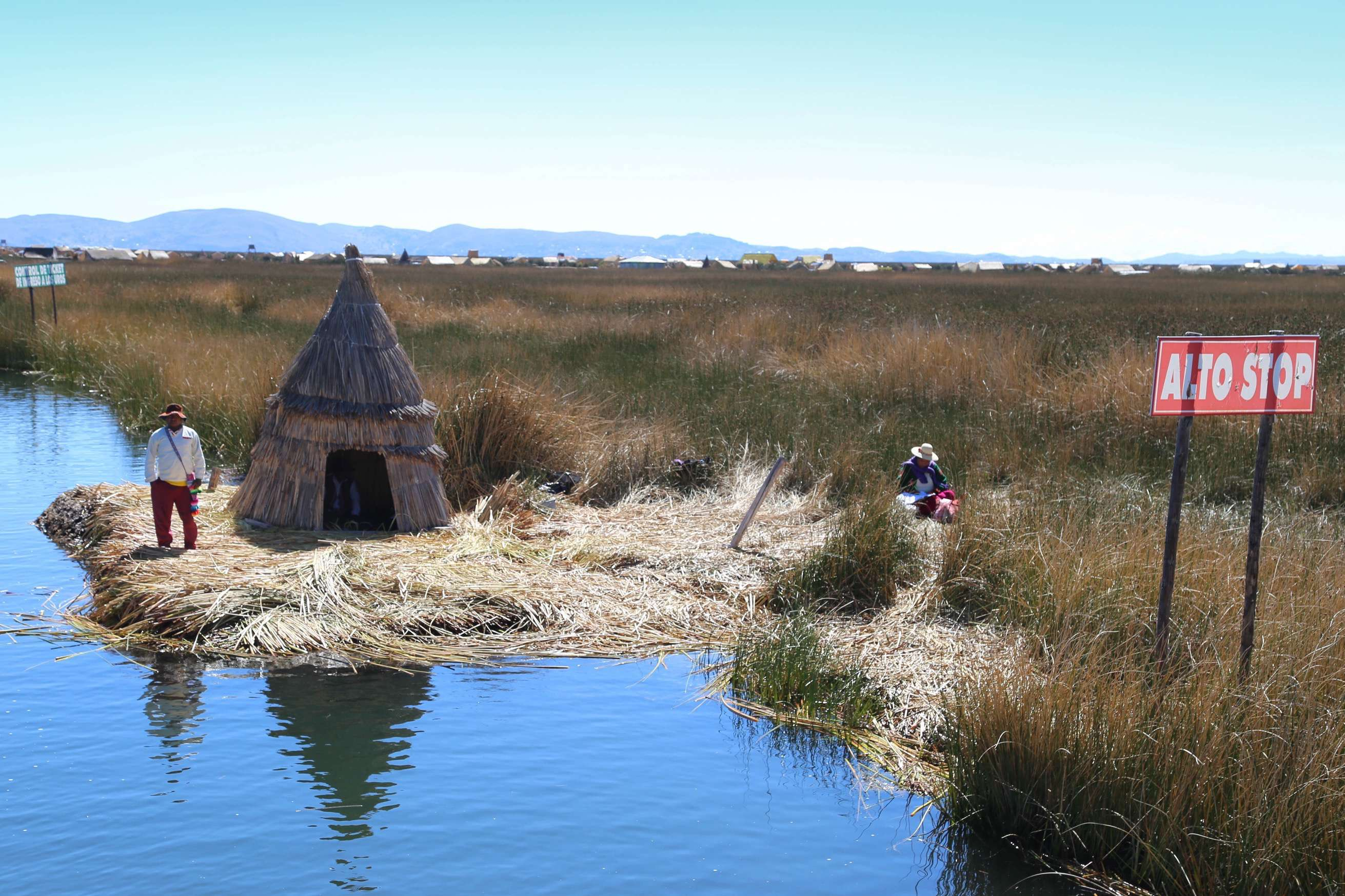 A traffic control station keeps tabs on the boats visiting the floating islands of Lake Titicaca.