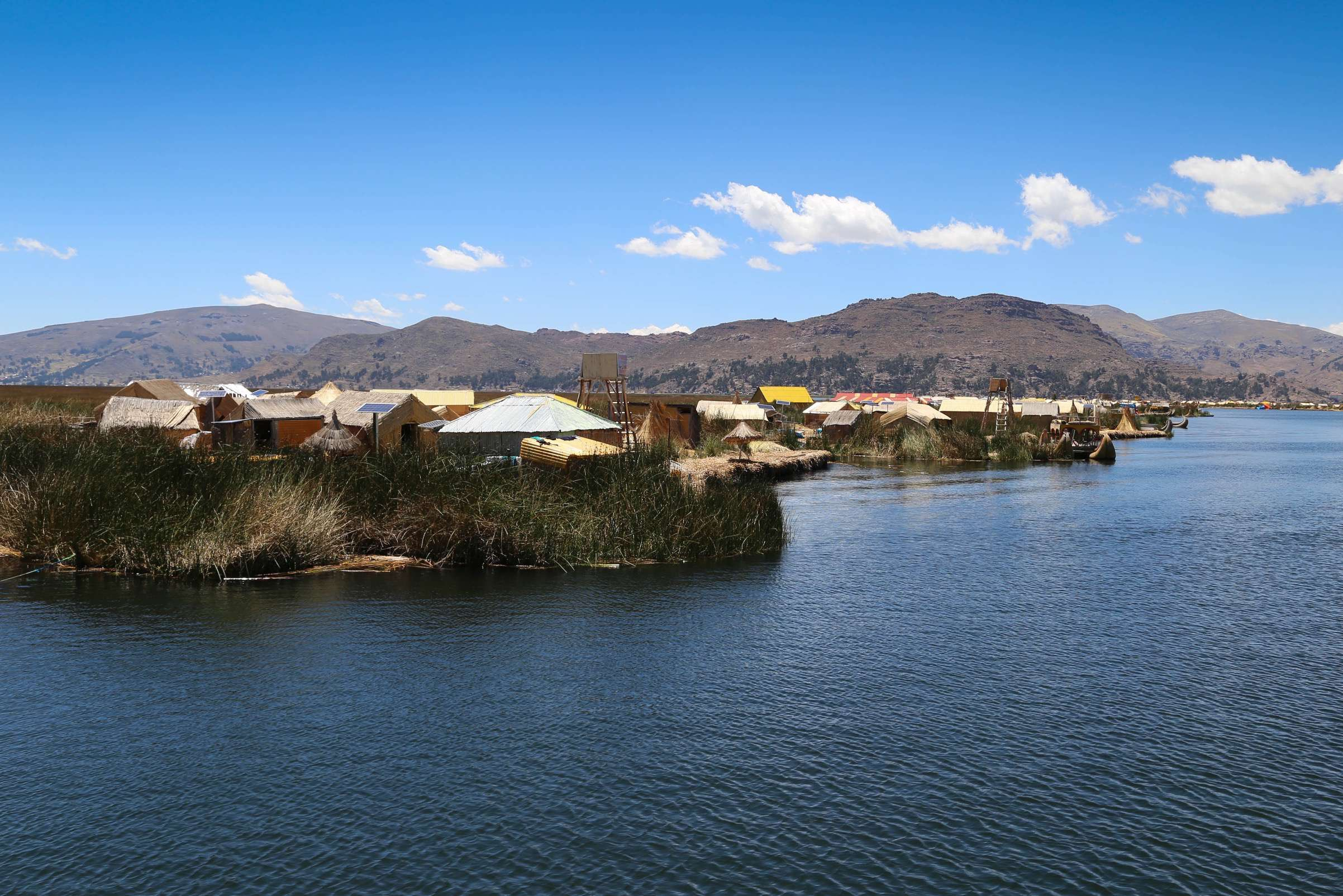 The floating islands are clustered in an area of Lake Titicaca in Peru.