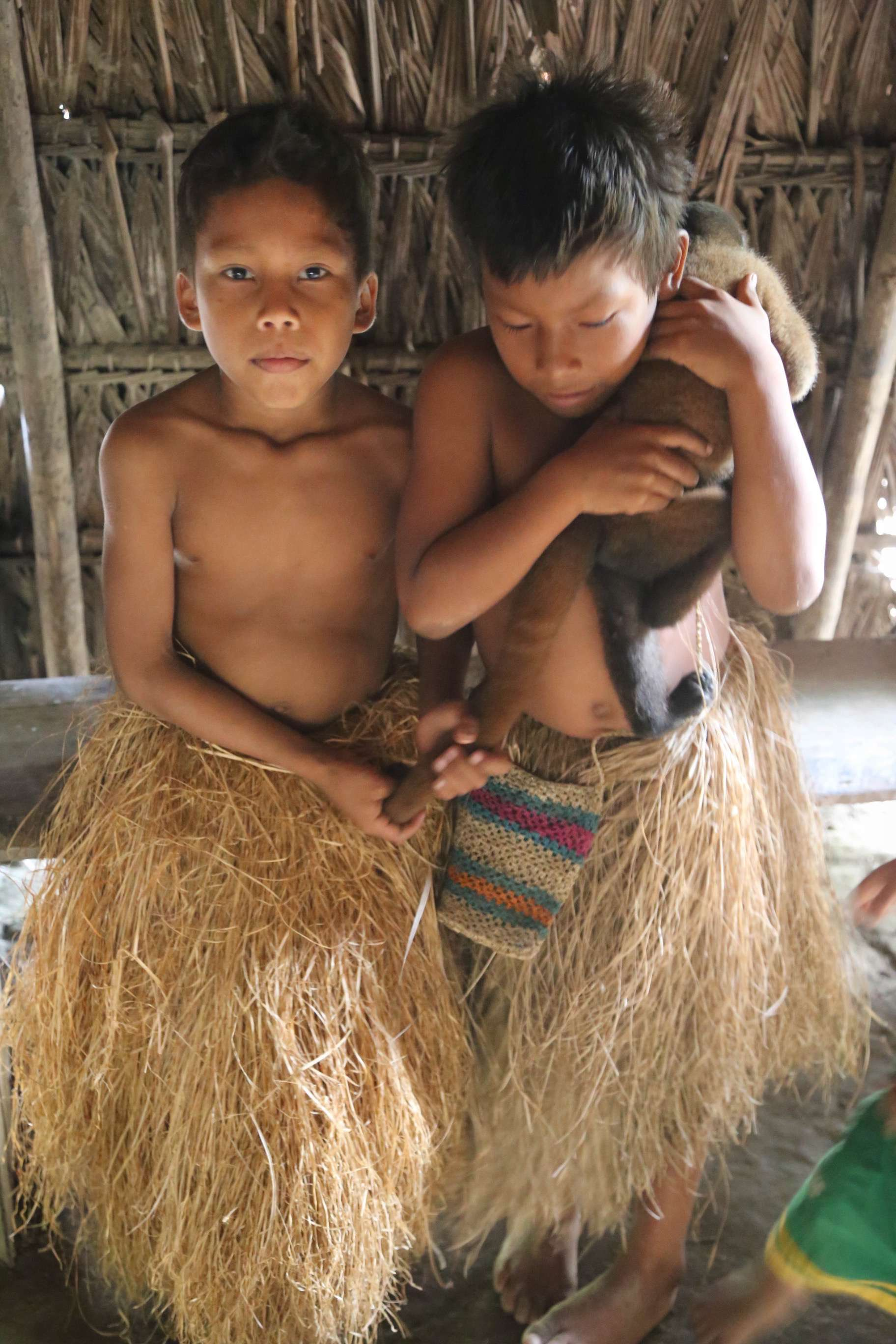 All kids like to have pets and the Yagua have monkeys, sloth and other creatures to play with.