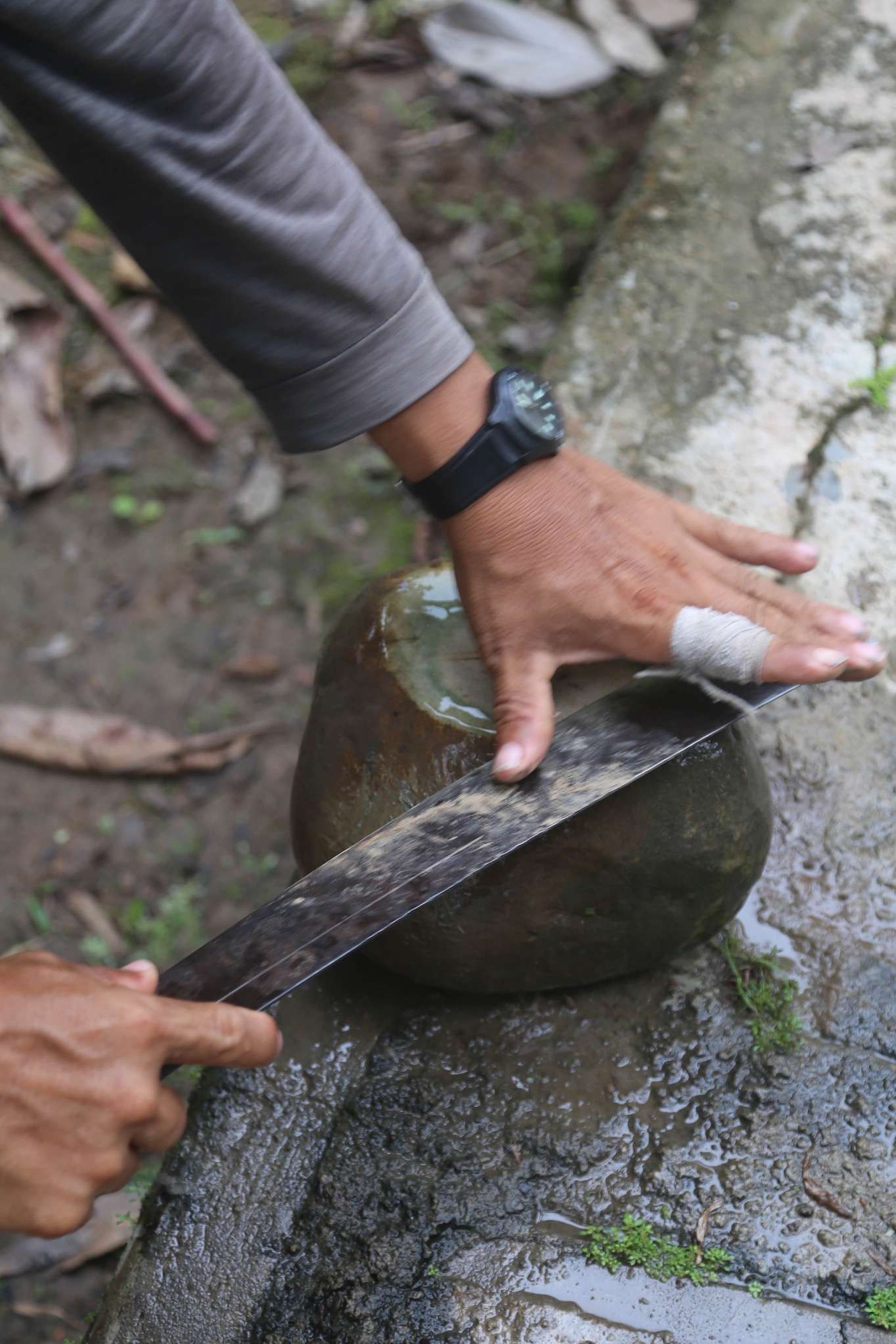 A good sized rock is a valuable thing along the Amazon River. There are few of them. They are given as gifts and are used to sharpen knives and machetes.